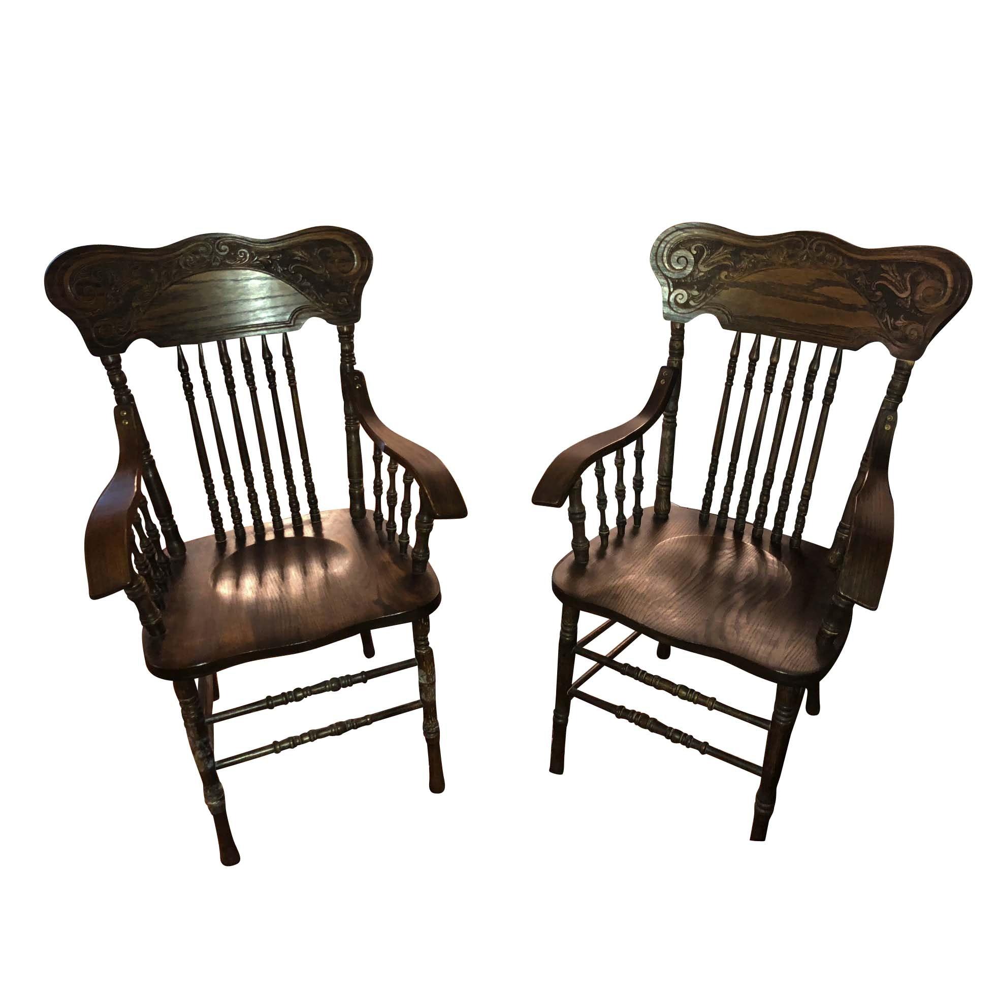 Vintage Oak Press Back Armchairs