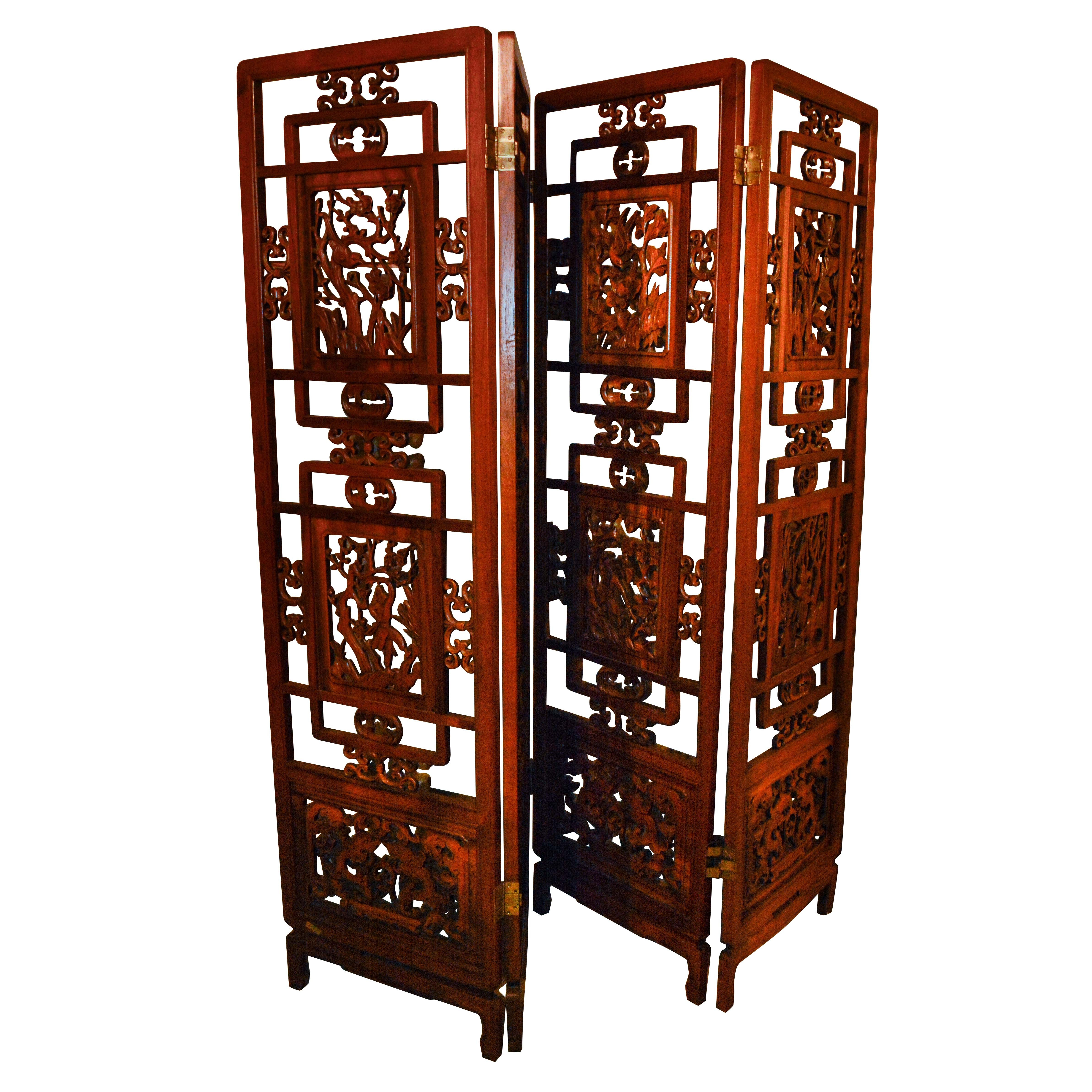 Vintage Chinese Carved Wood Reticulated Four Panel Screen
