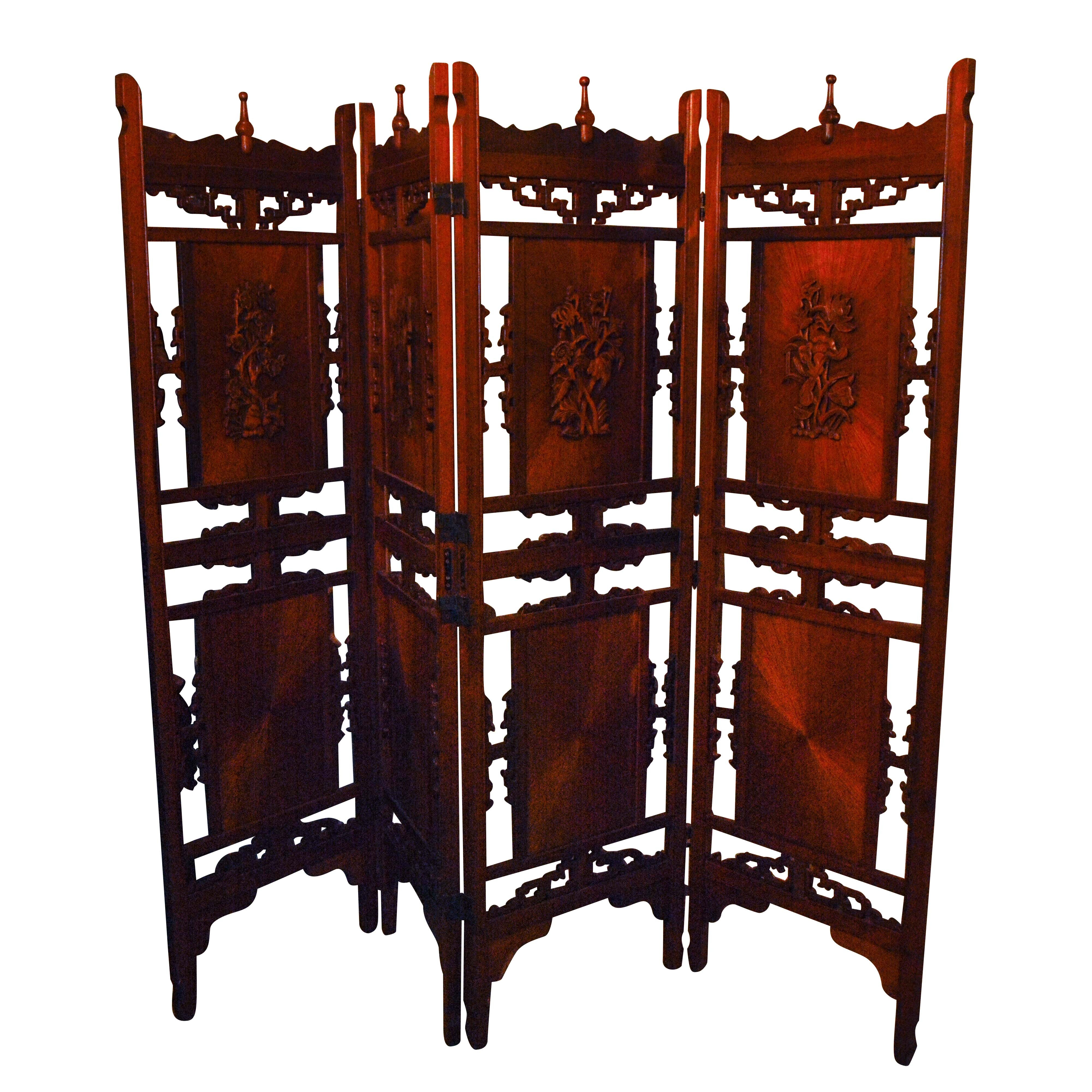 Vintage Chinese Carved Wood Four Panel Folding Screen