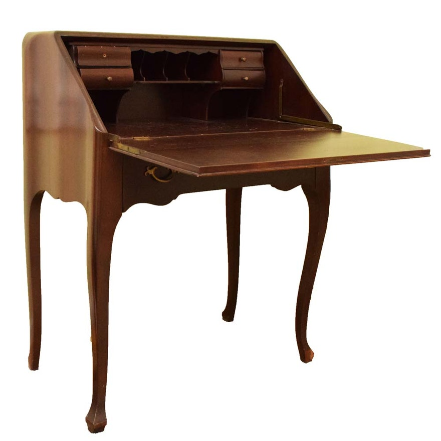 Vintage Queen Anne Cherry Secretary Desk ... - Vintage Queen Anne Cherry Secretary Desk : EBTH