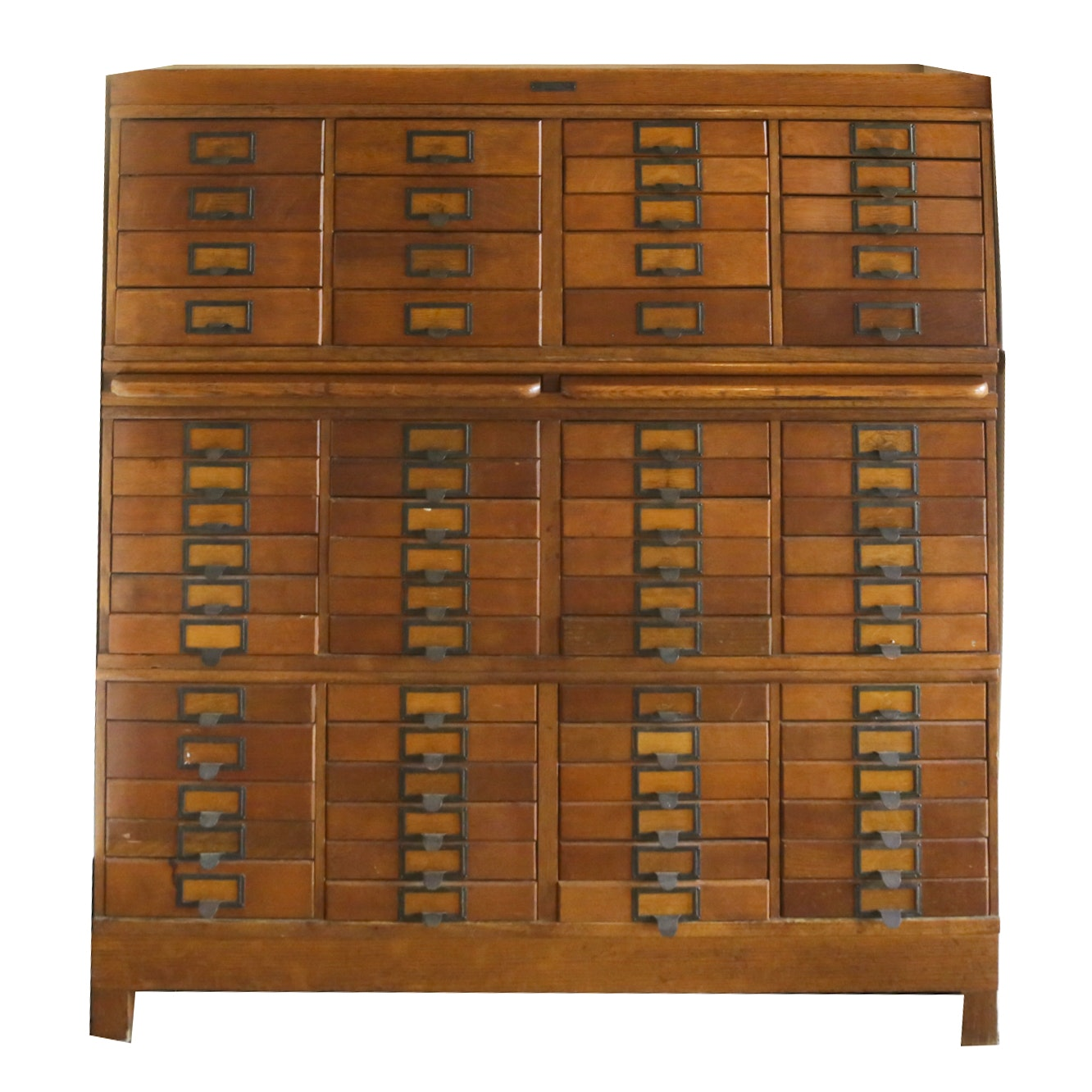 Vintage Oak Stacked File Cabinet by P.A. Wetzel Company