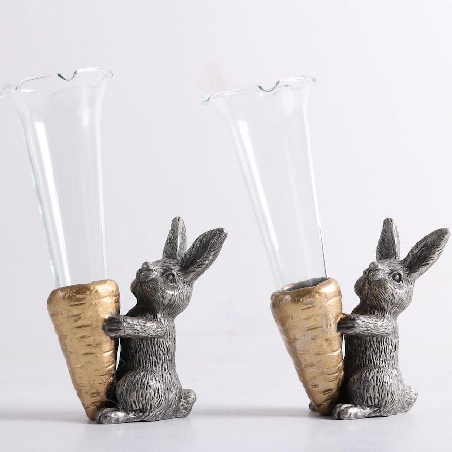 A Metal And Glass Rabbits With Carrot Bud Vases By Spi Ebth
