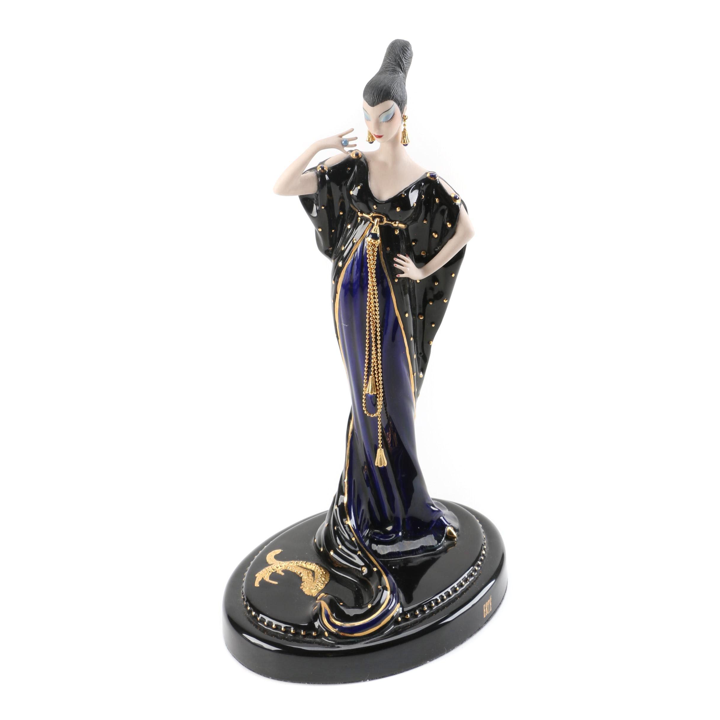 """Franklin Mint Porcelain Sculpture After Erté """"Moonlight Mystique"""""""
