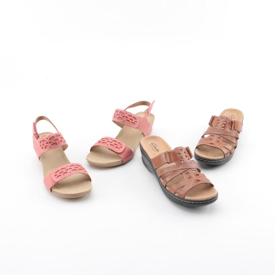 90638d2da8f Womens Clarks Bendables Leather Sandals   EBTH