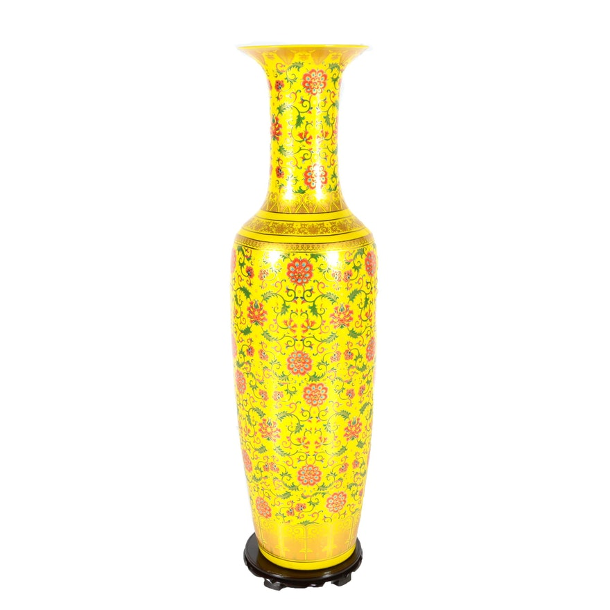 Chinese Yellow And Floral Ceramic Floor Vase With Stand Ebth