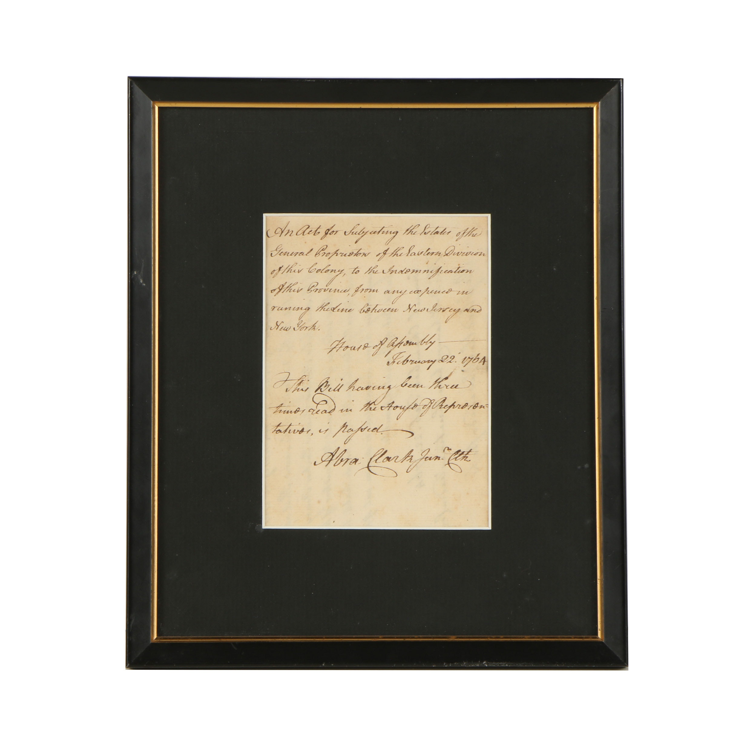 Handwritten Letter Signed by New Jersey Patriot Abraham Clark