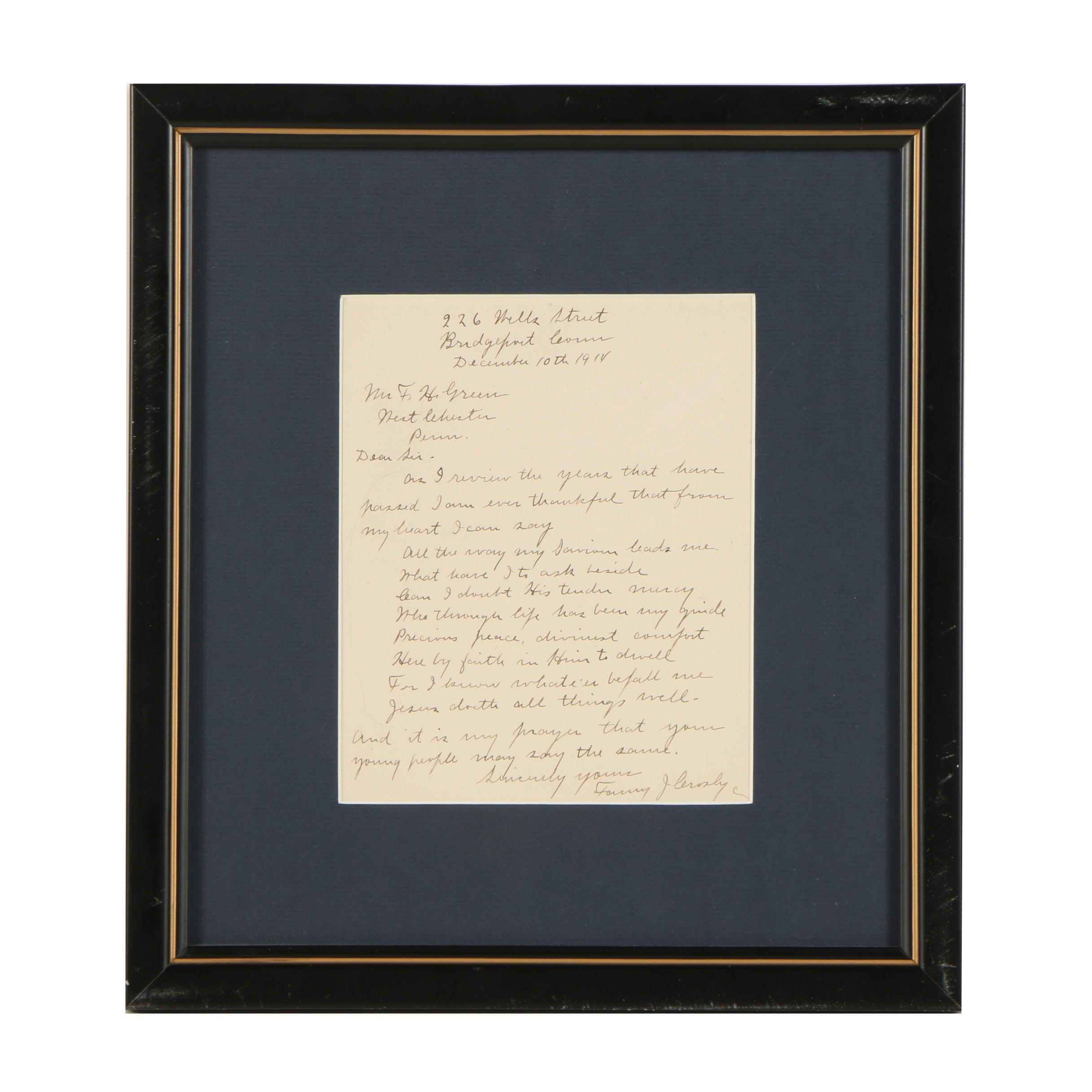 Handwritten Letter from Fanny Crosby Dated December 10, 1914