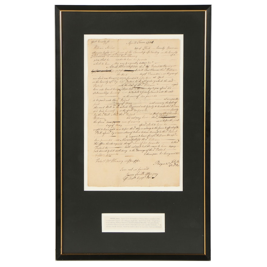 James Smith Document Signed 1754