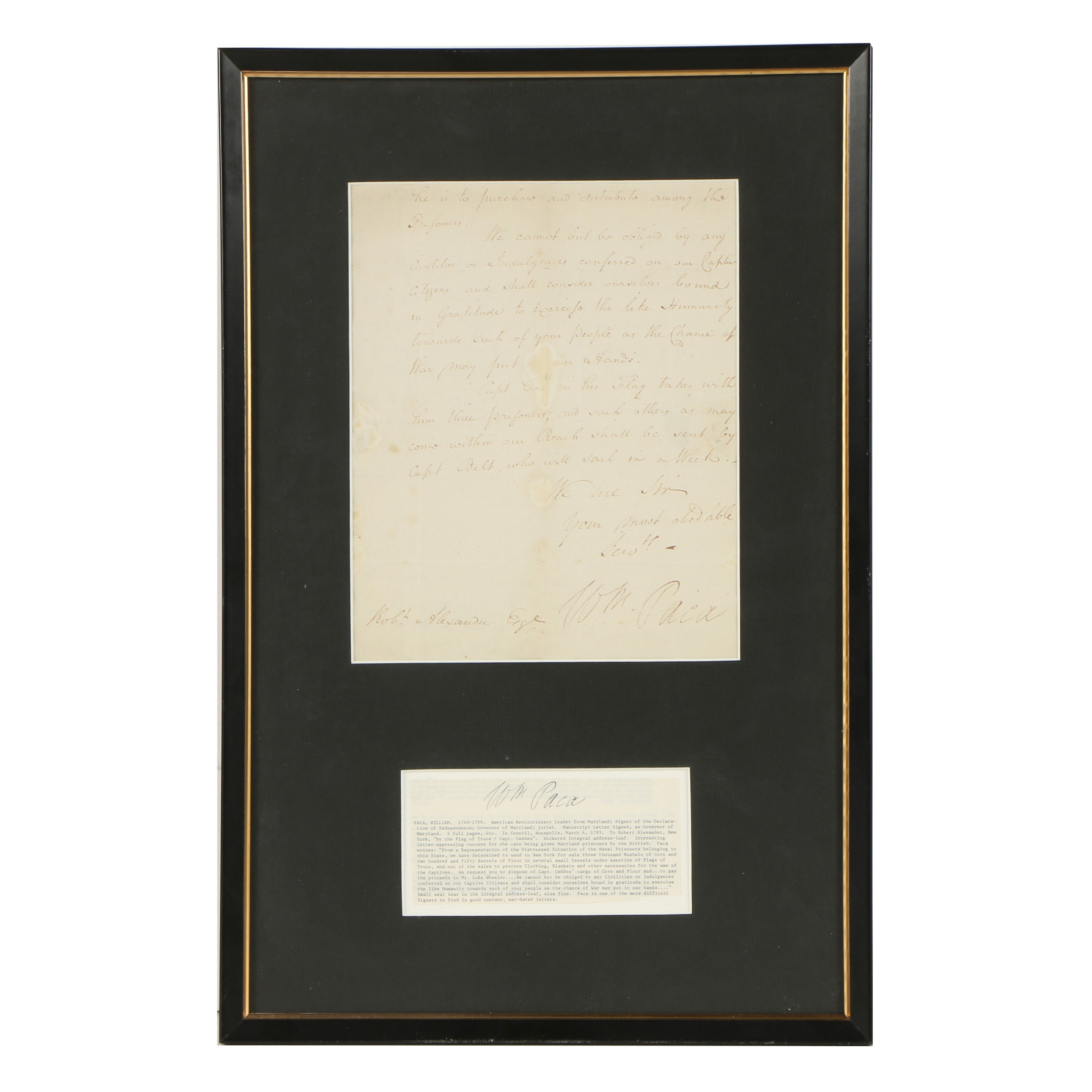 William Paca Manuscript Letter Signed March 4, 1783