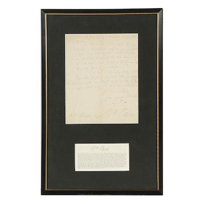 William Paca Manuscript Letter Signed March 4, 1783