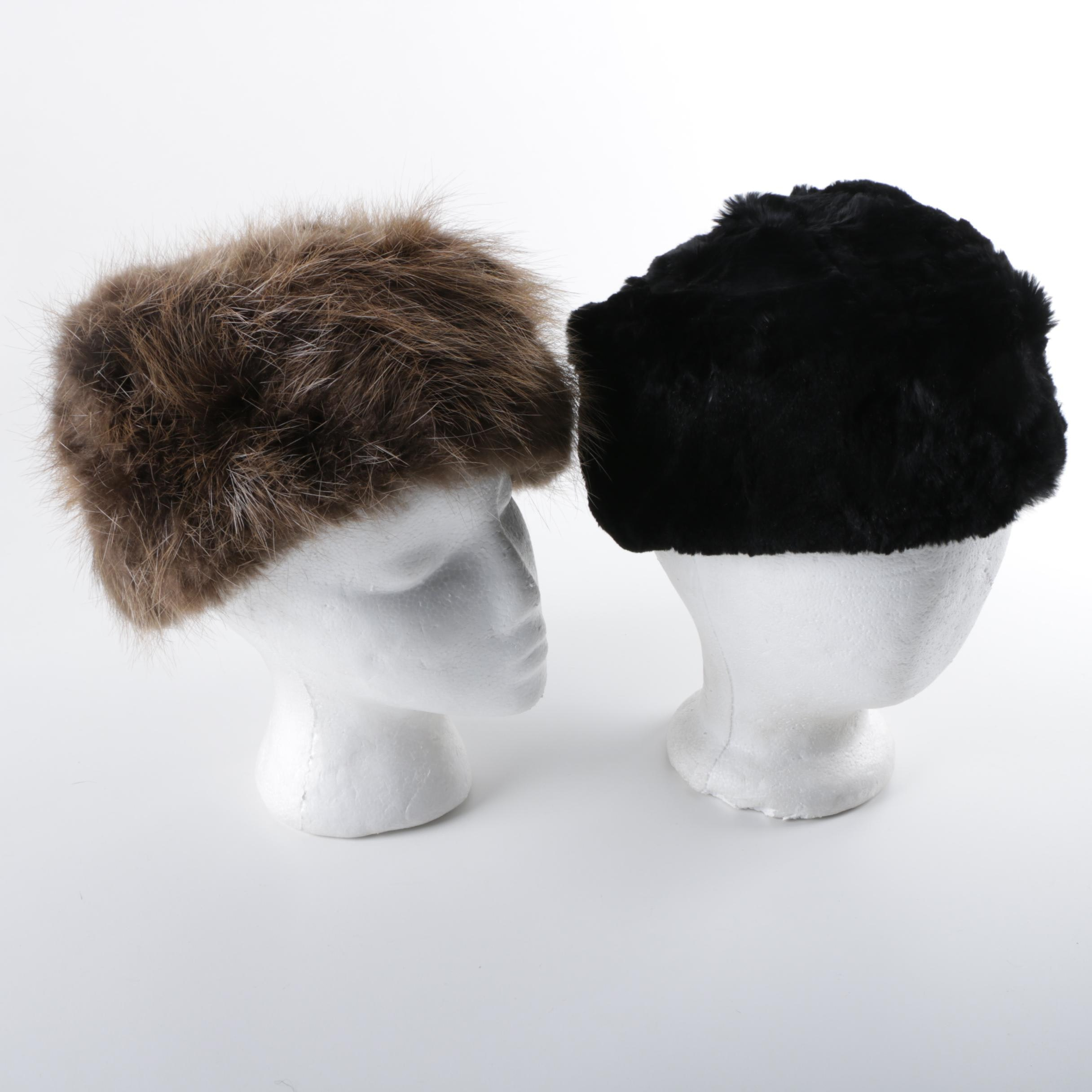 Women Glacier Wear Beaver and Vintage Dyed Black Sheared Fur Hats