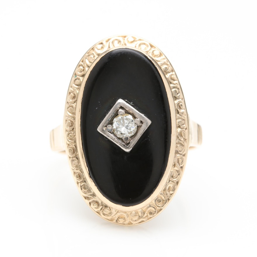 f0cc4b5684f 14K Yellow Gold Black Onyx and Diamond Ring with 14K White Gold Accents ...