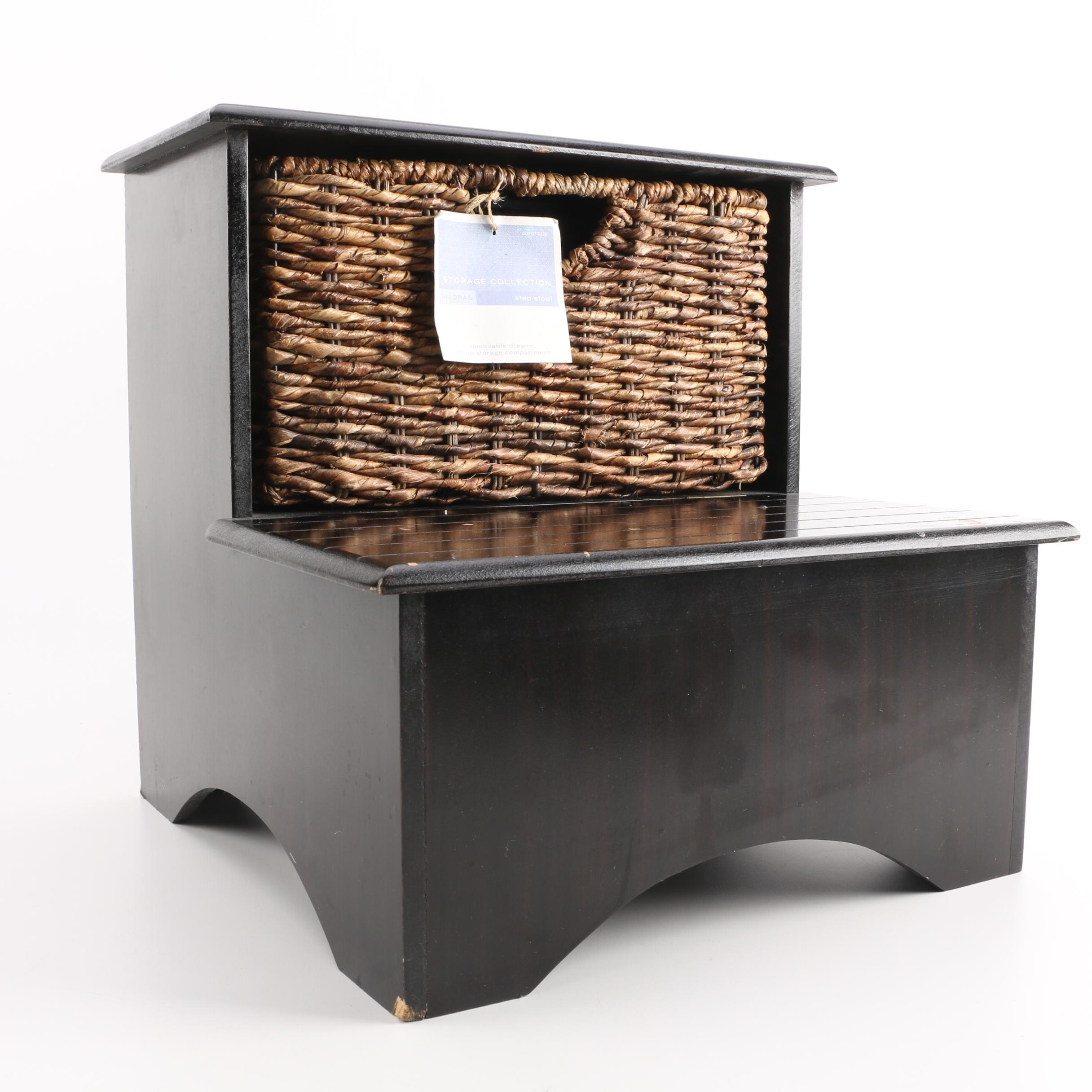 Step Stool With Storage Compartments And Basket ...