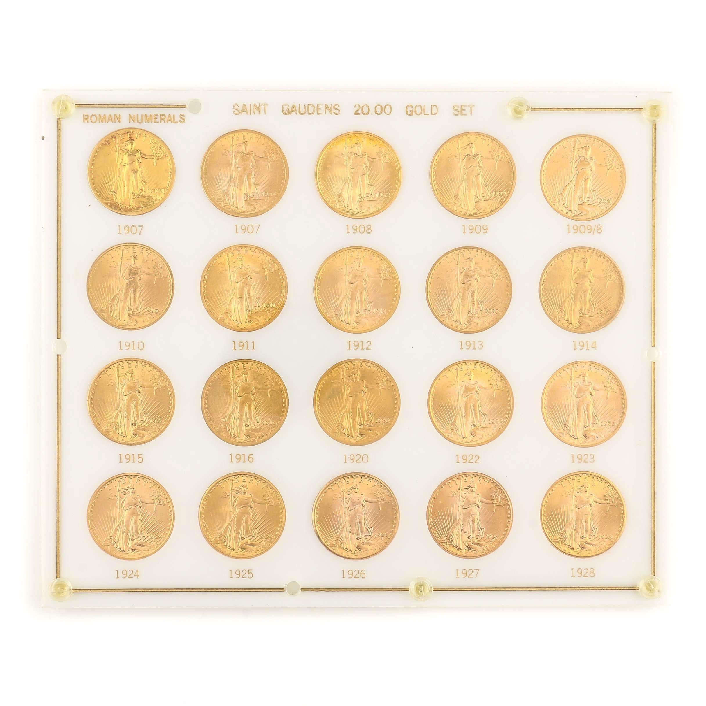 Set of Twenty Saint Gaudens $20 Gold Double Eagles, 1907-1928