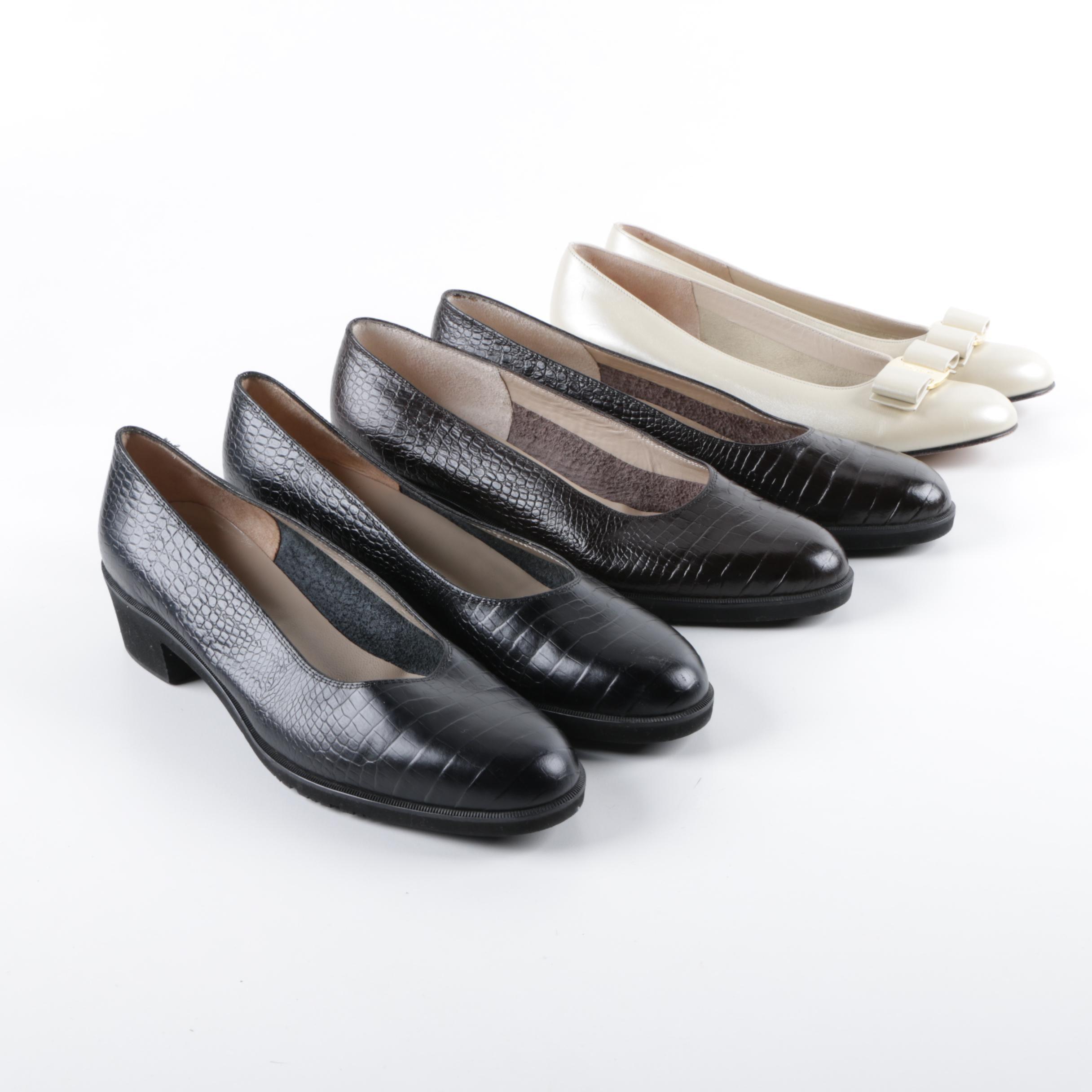 Women's Salvatore Ferragamo Leather Low Heel Pumps