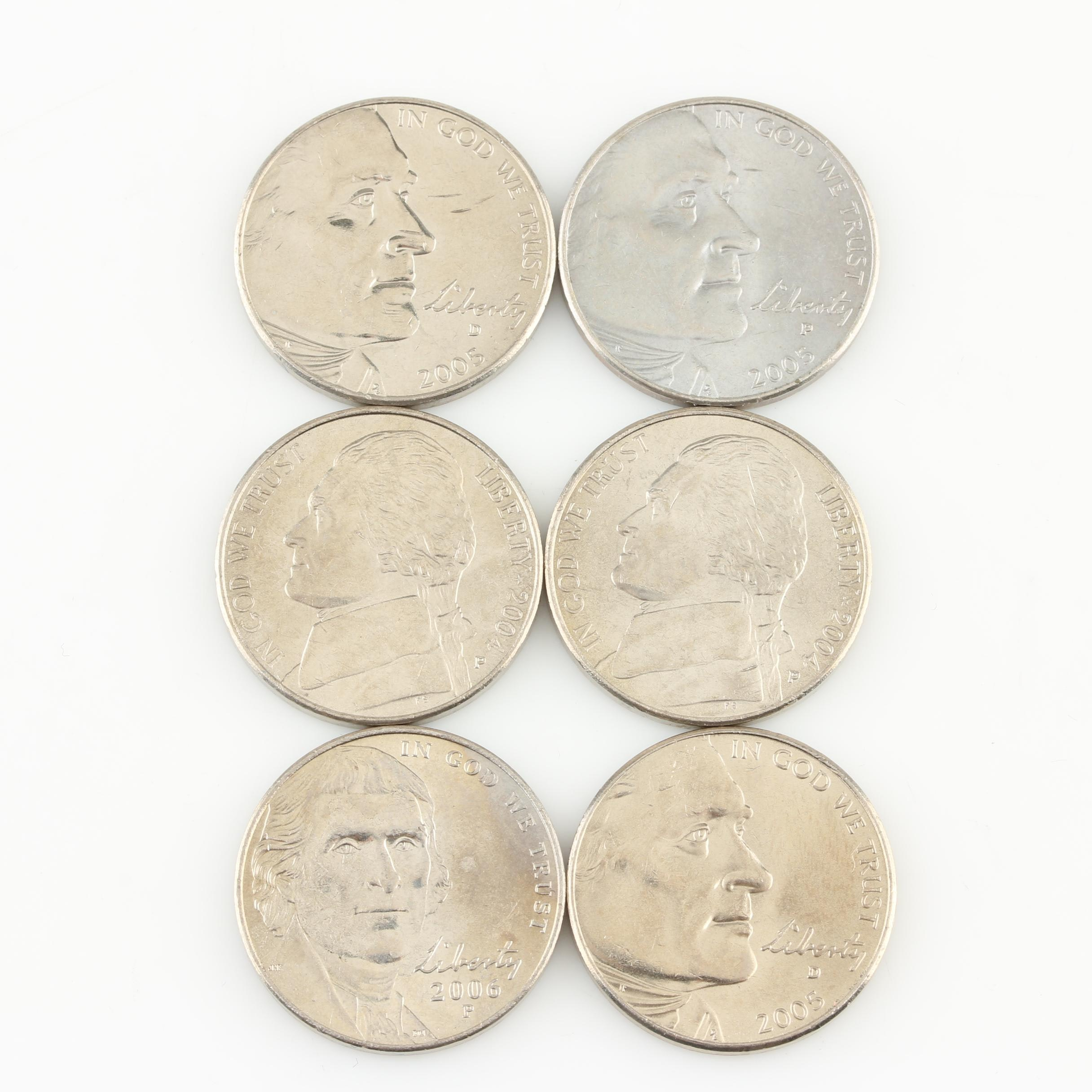 Group of Six Westward Journey Nickels