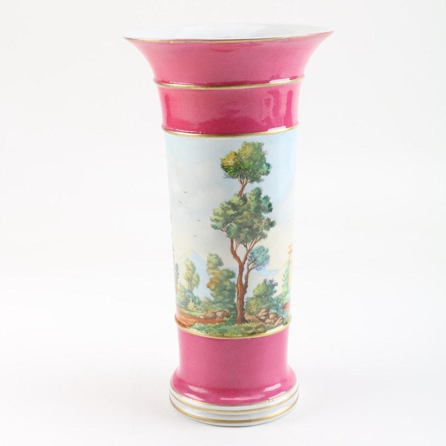 Spanish Vase With Hand Painted Landscape Scene Ebth
