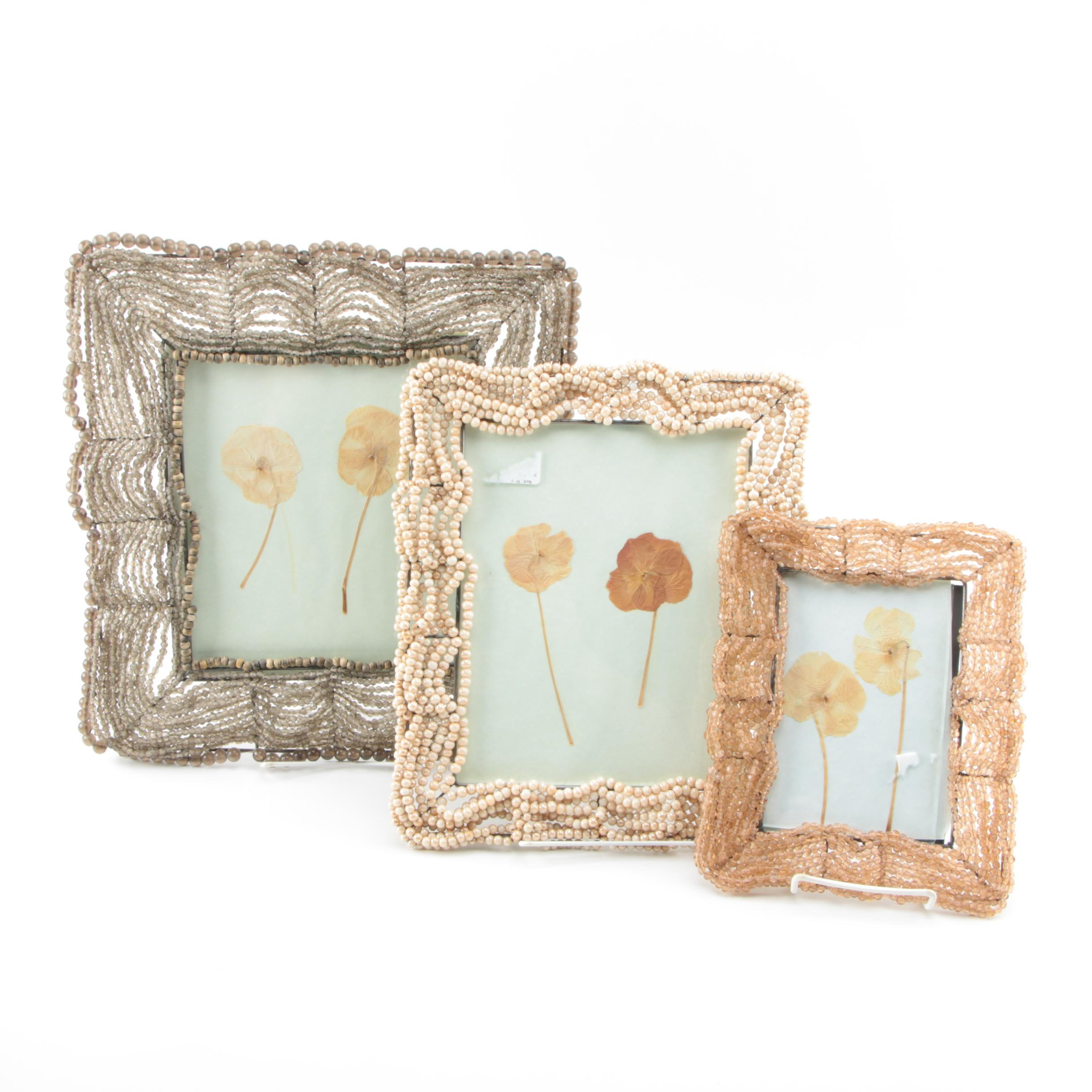 Glass Beaded Frames with Pressed Flowers