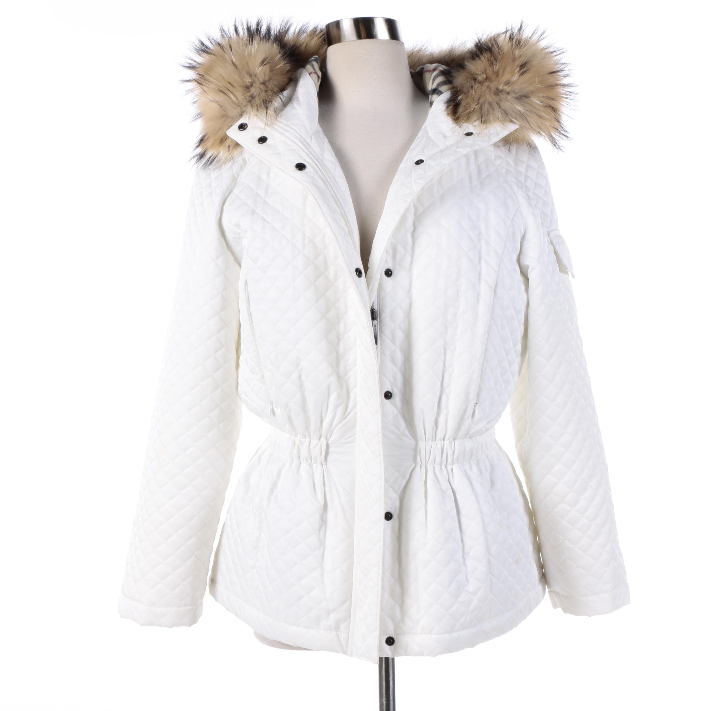 Women's Burberry London White Quilted Coat with Wool Lining and Raccoon Fur Trim