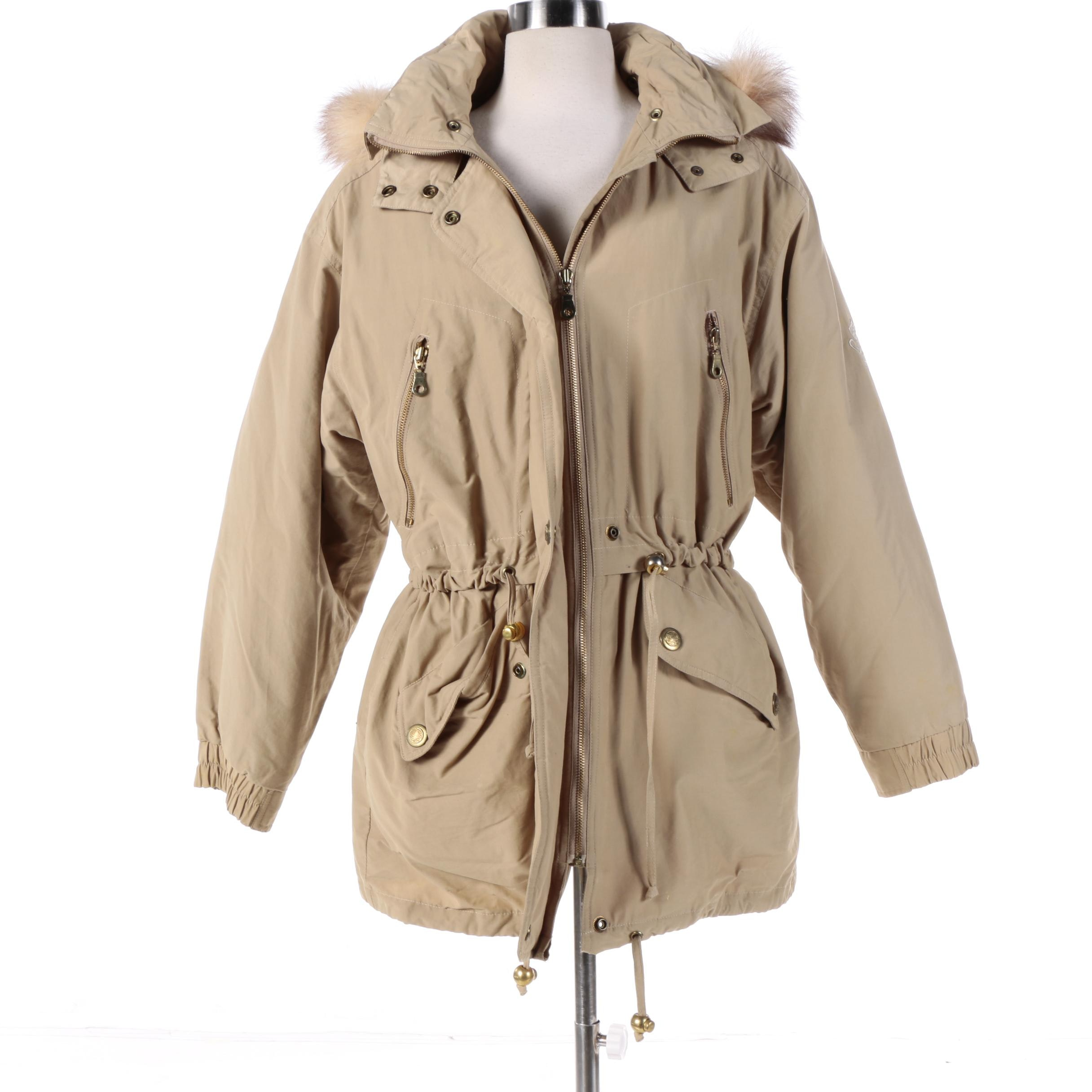 Women's London Fog Coat with Coyote Fur Trimmed Hood