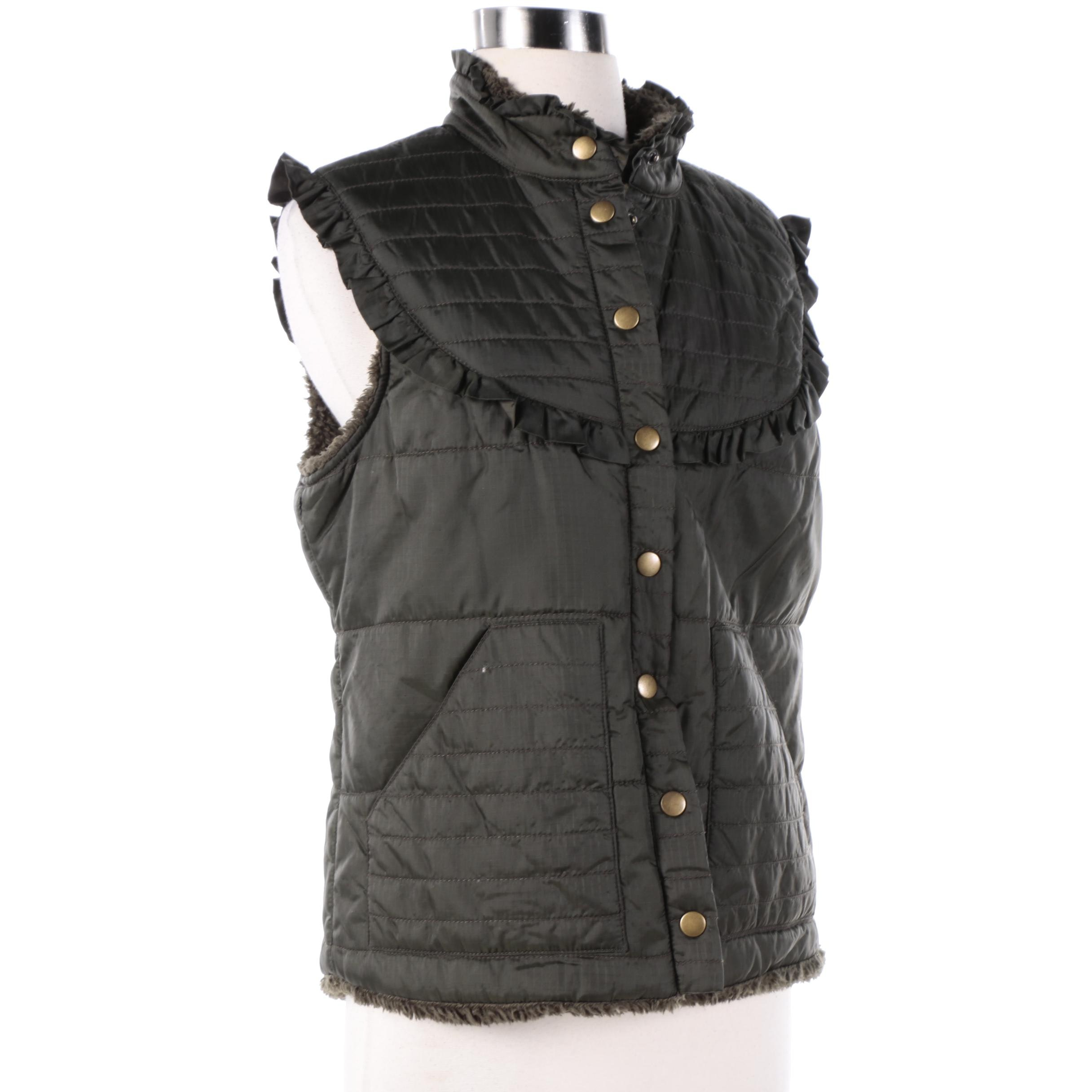 Women's Free People Dark Green Vest with Faux Shearling Lining