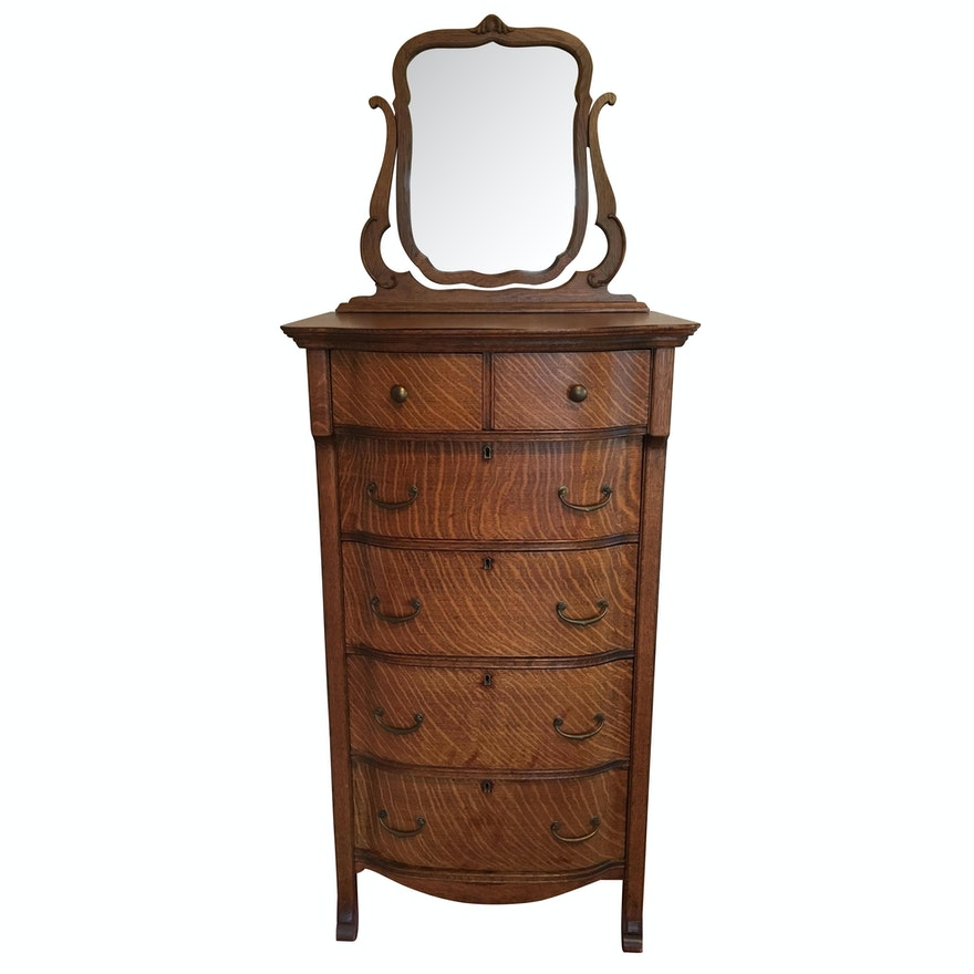 Antique Quarter Sawn Oak Chest of Drawers and Mirror ... - Antique Quarter Sawn Oak Chest Of Drawers And Mirror : EBTH