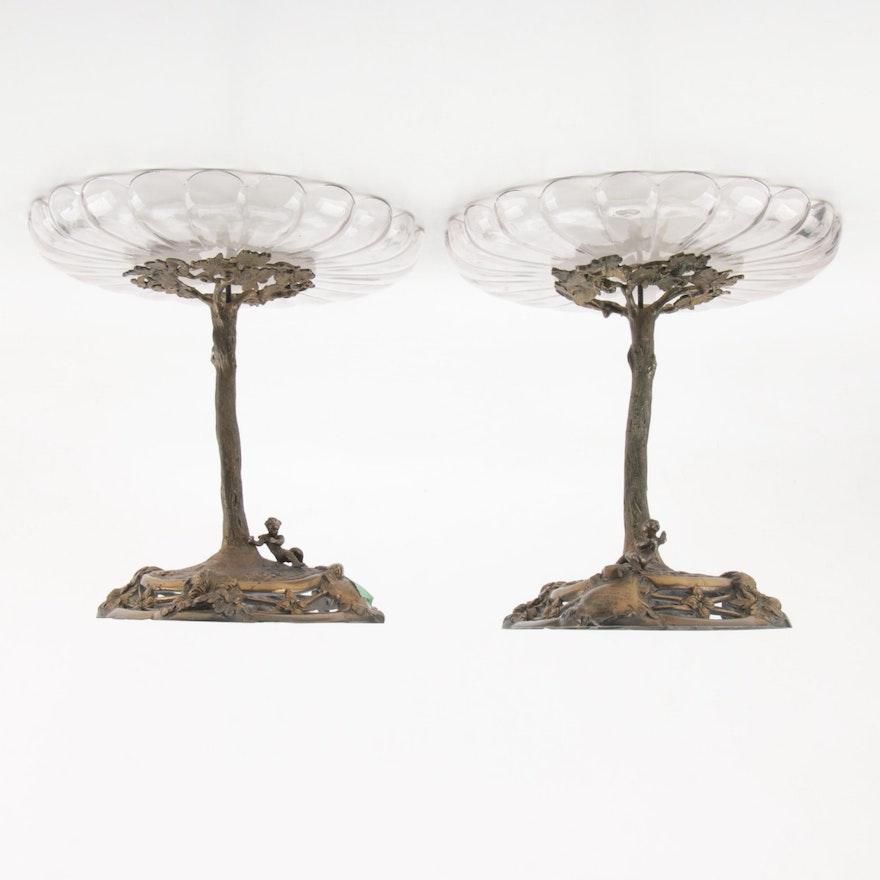 1843 Irish Cut Glass and Bronze Commemorative Compotes