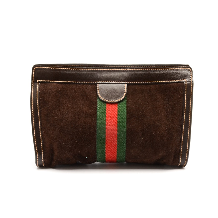 d3f1c7aef6368 Vintage Gucci Brown Suede Clutch Accessory Bag   EBTH