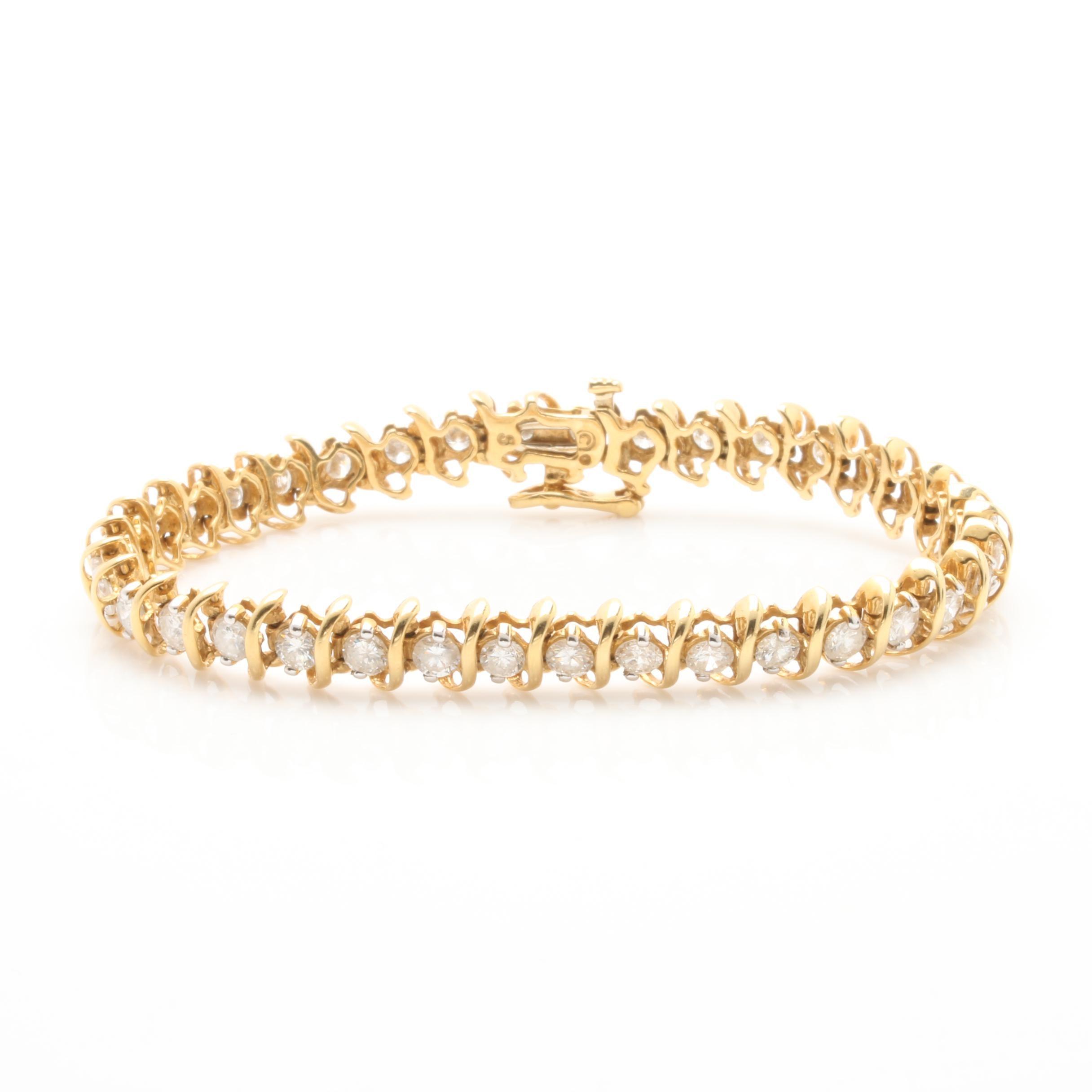 18K Yellow Gold 4.95 CTW Diamond Bracelet