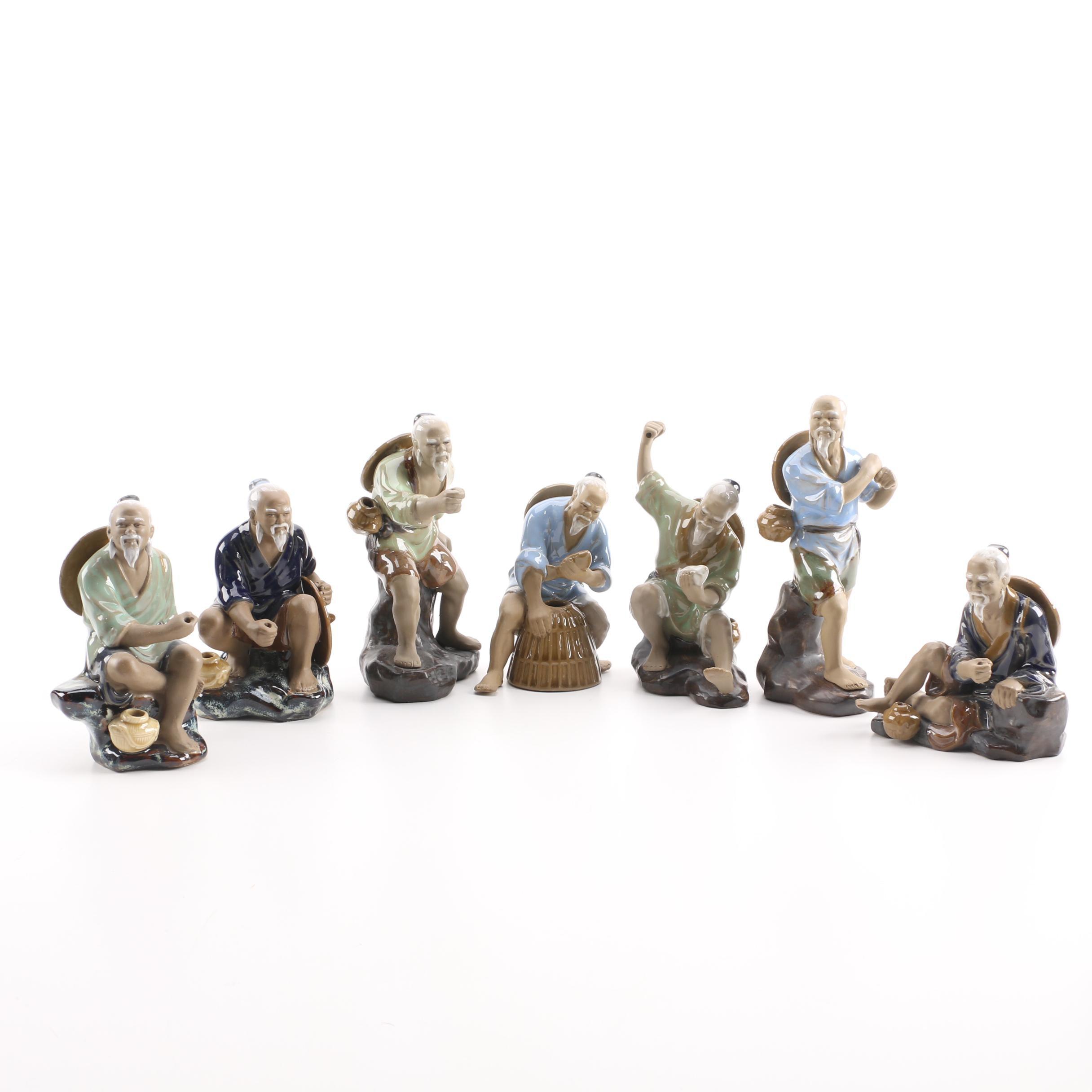 Contemporary Chinese Ceramic Fisherman Figurines