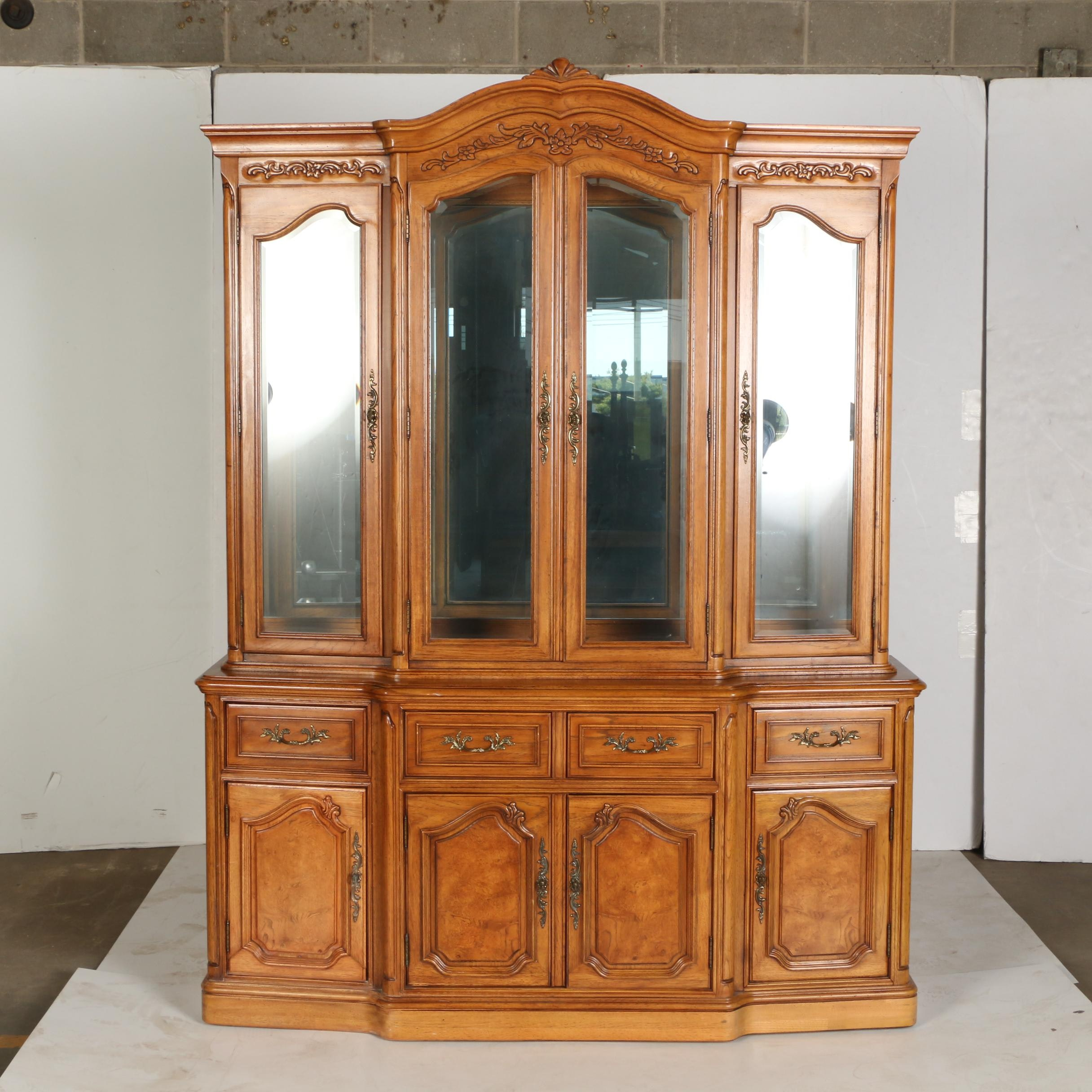 Vintage French Provincial Style Breakfront China Cabinet by Thomasville