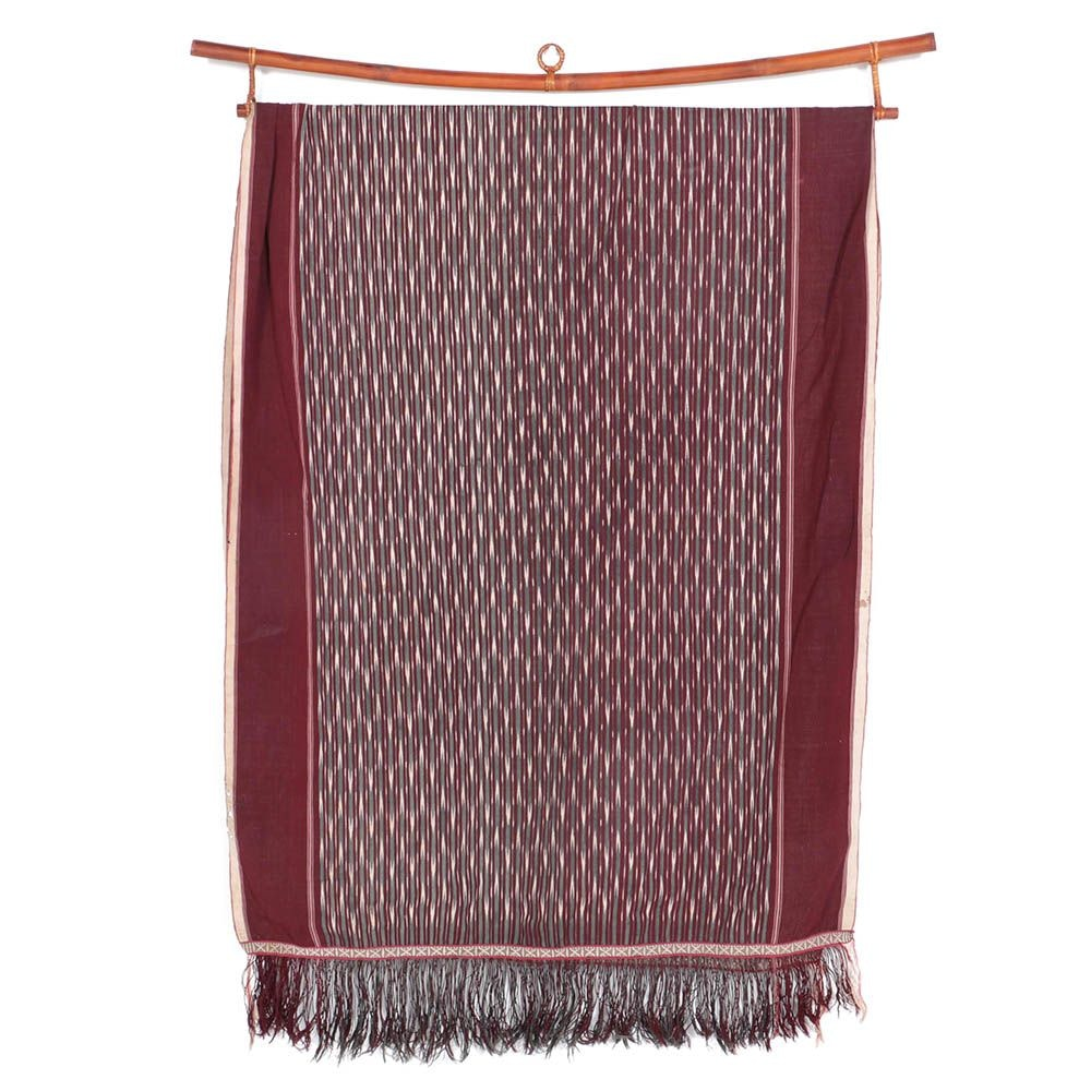 Antique Handwoven Ikat Cotton Textile with Hanging Rod