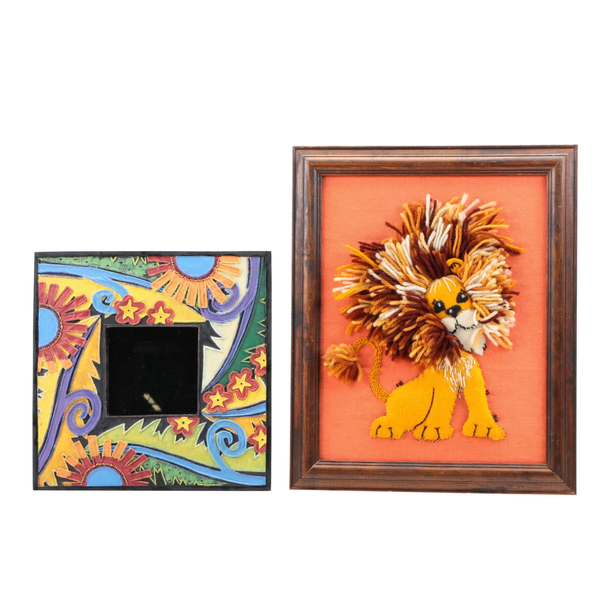 Floral Framed Wall Mirror and Stuffed Lion Embroidery