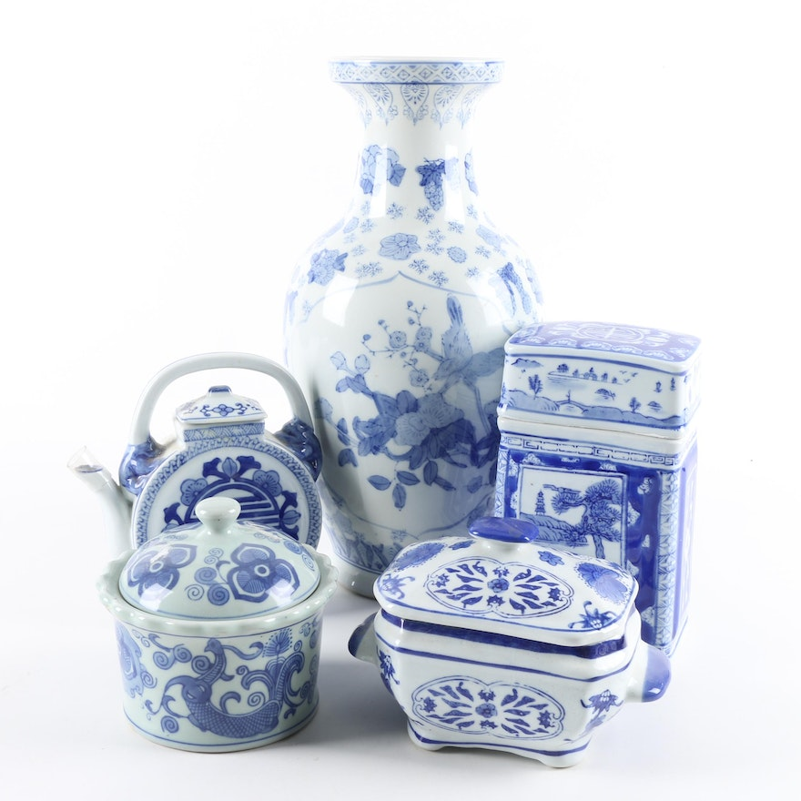 Chinese Blue And White Decorative Jars Vase And Teapot Ebth