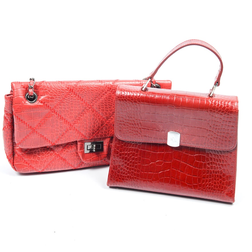c06016804b91 Embossed Red Handbags Featuring Ralph Lauren   EBTH