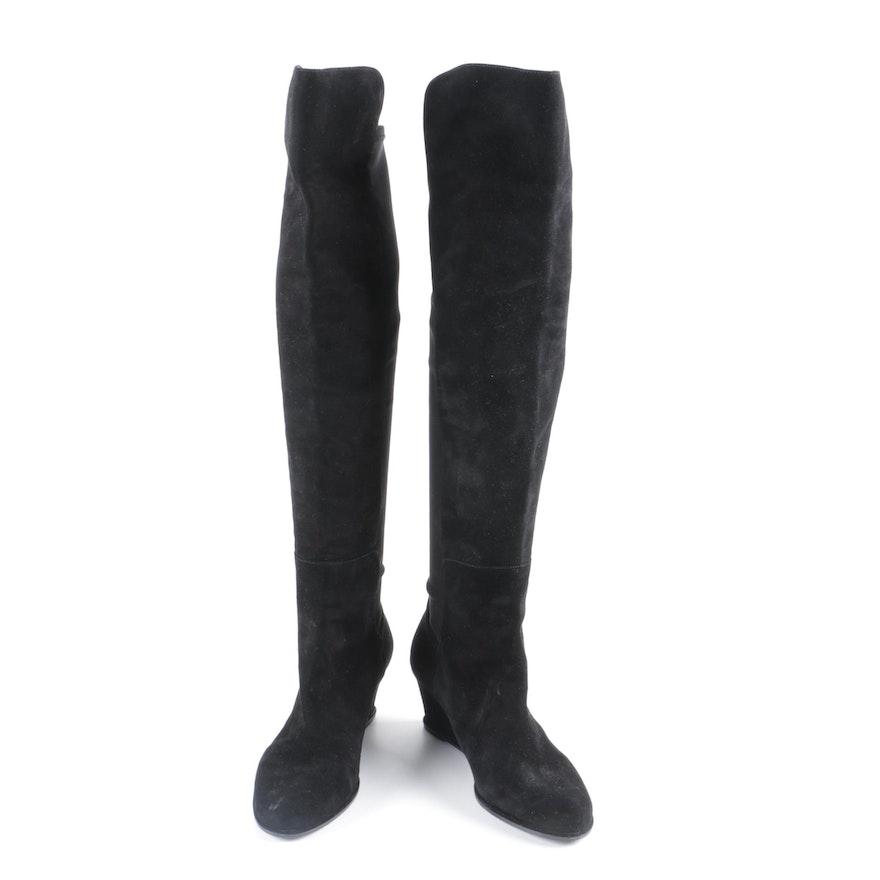 bea17690e184 Women s Stuart Weitzman Black Suede Knee-High Boots with Box