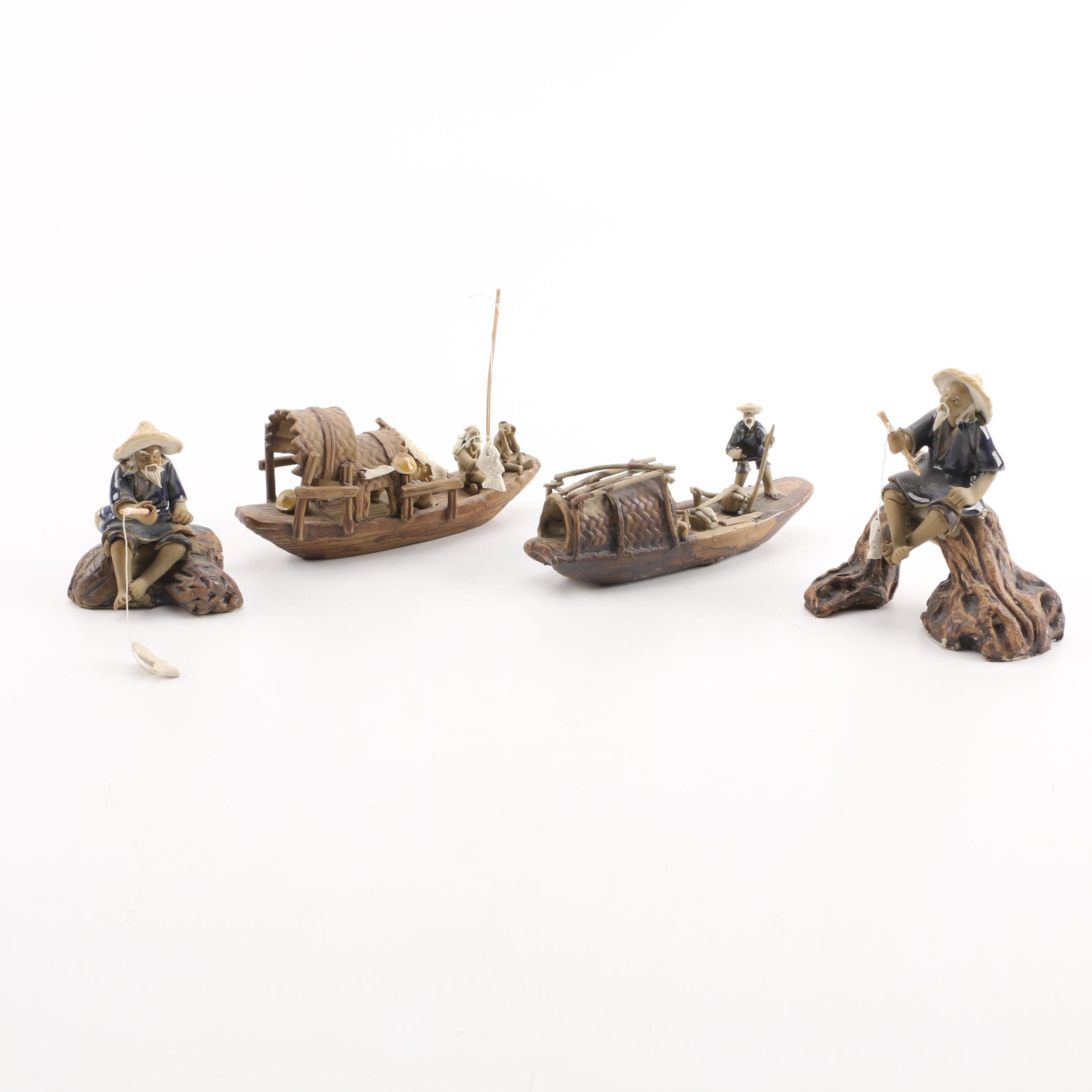 Chinese Hand Sculpted Clay Fishing Themed Figurines