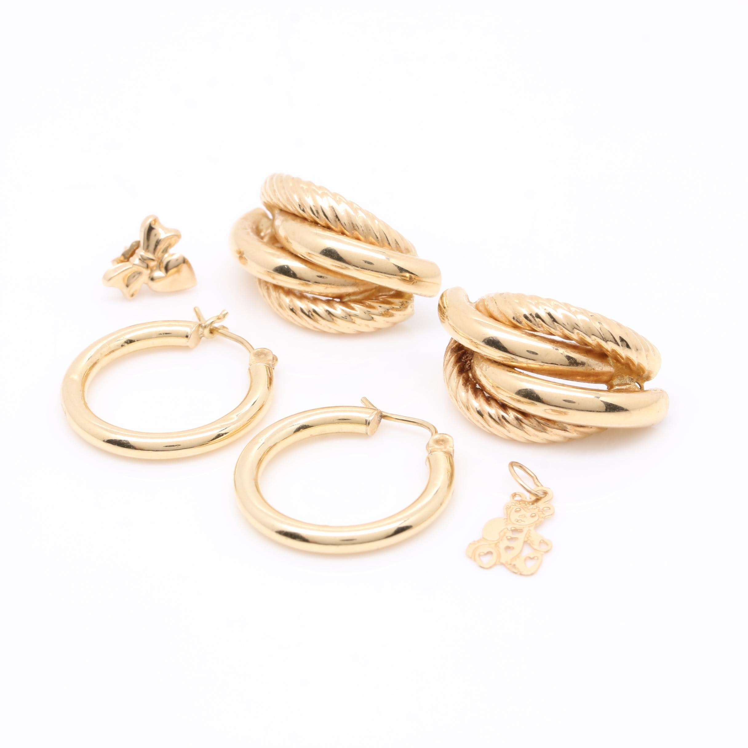 14K Yellow Gold Jewelry Assortment Including Earrings