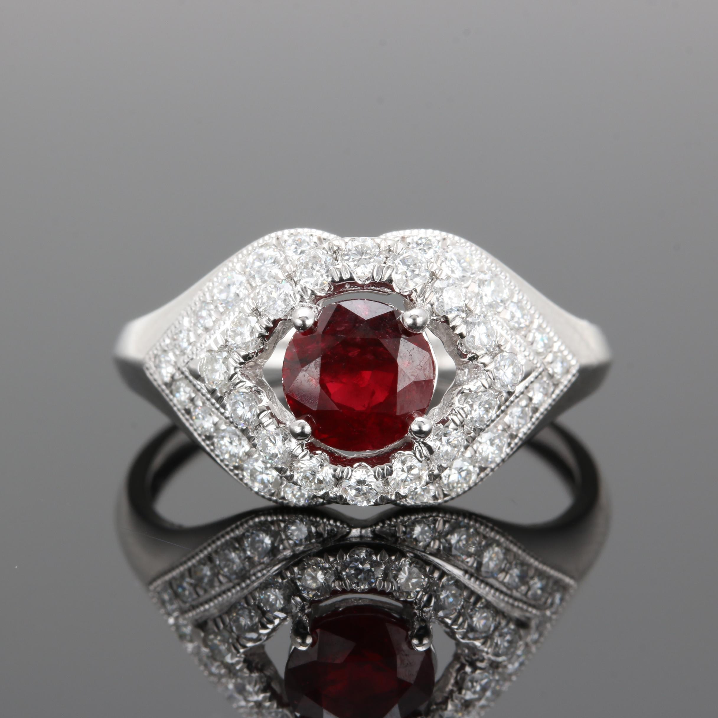 Platinum 1.09 CT Ruby and Diamond Ring Including GIA Report