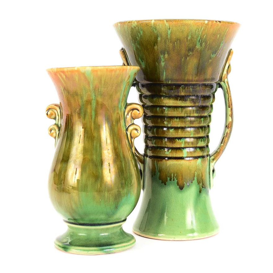 Pair Of Vintage Brush Mccoy Vases Ebth