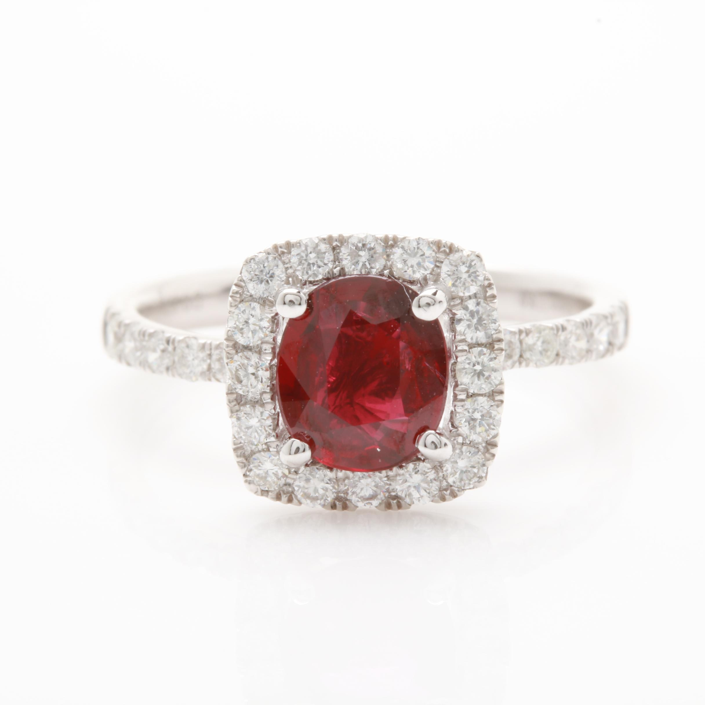 Platinum Untreated 1.23 CT Ruby and Diamond Ring with GIA Report