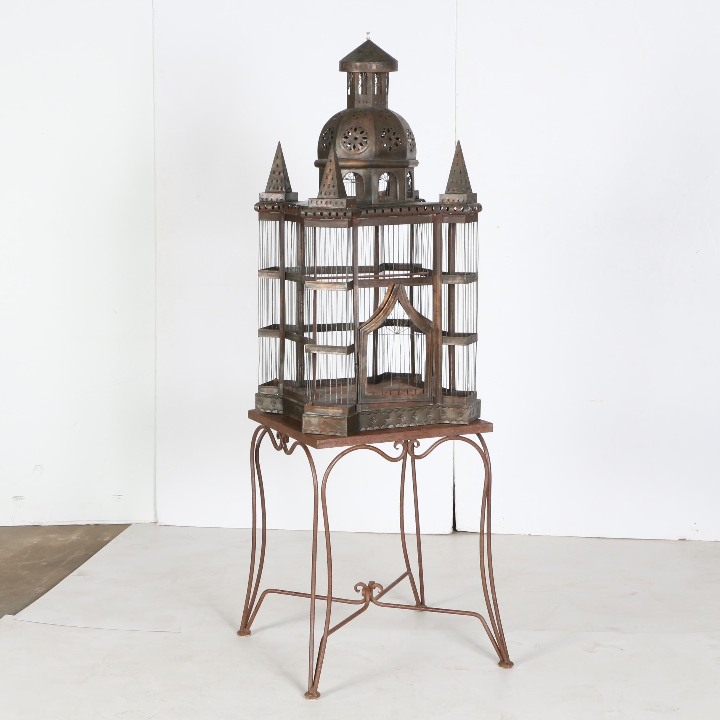 Metalwork Bird Cage and Side Table