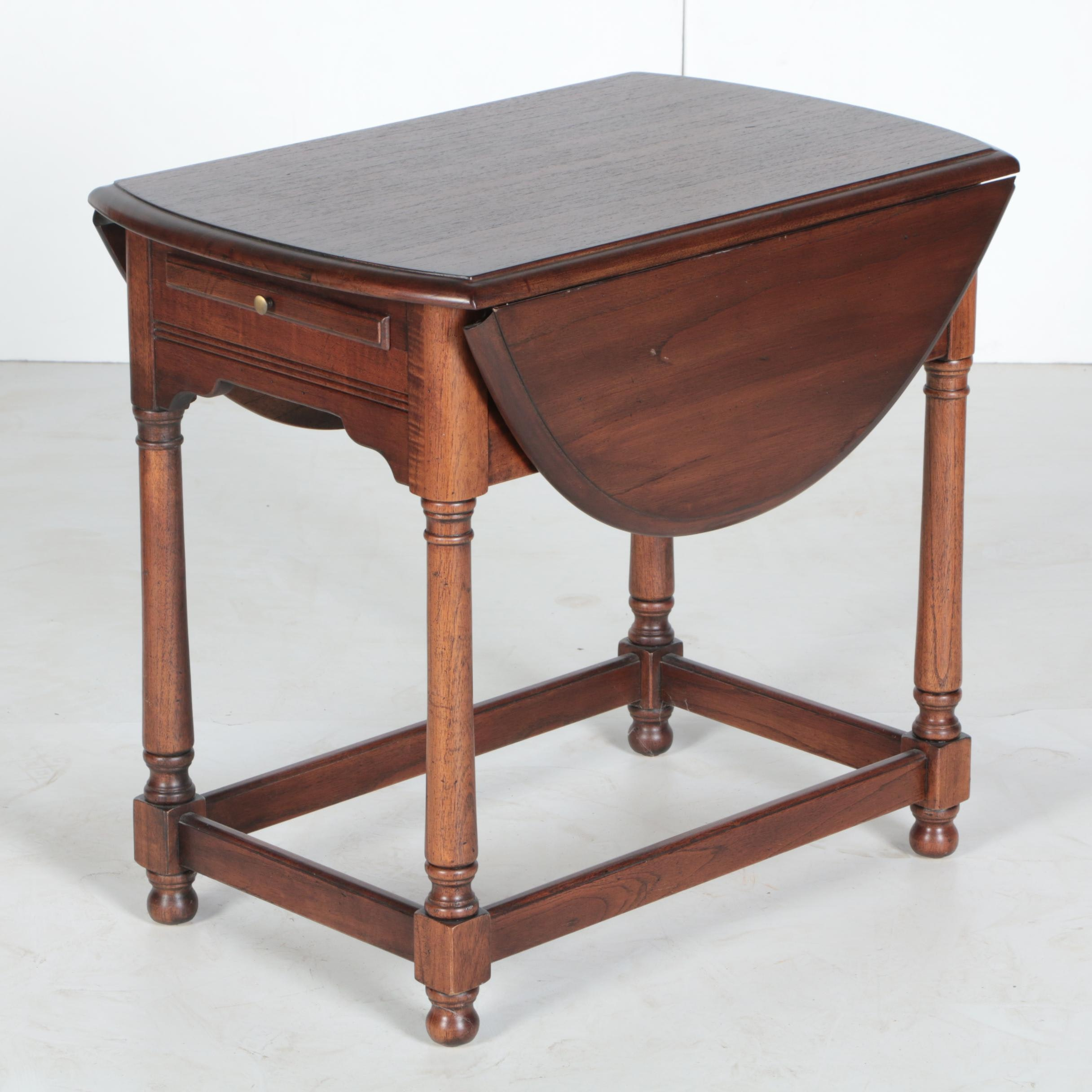 Vintage Walnut Drop-Leaf End Table