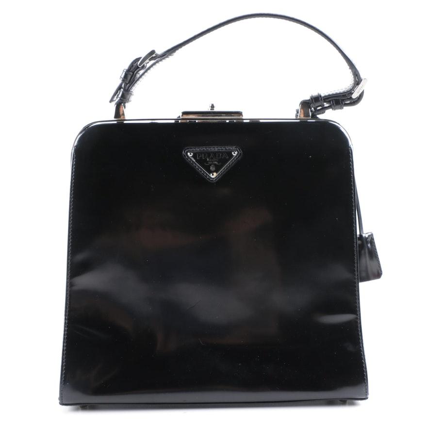 199d89cfcfe Prada Milano Black Patent Leather Frame Embellished Bag   EBTH