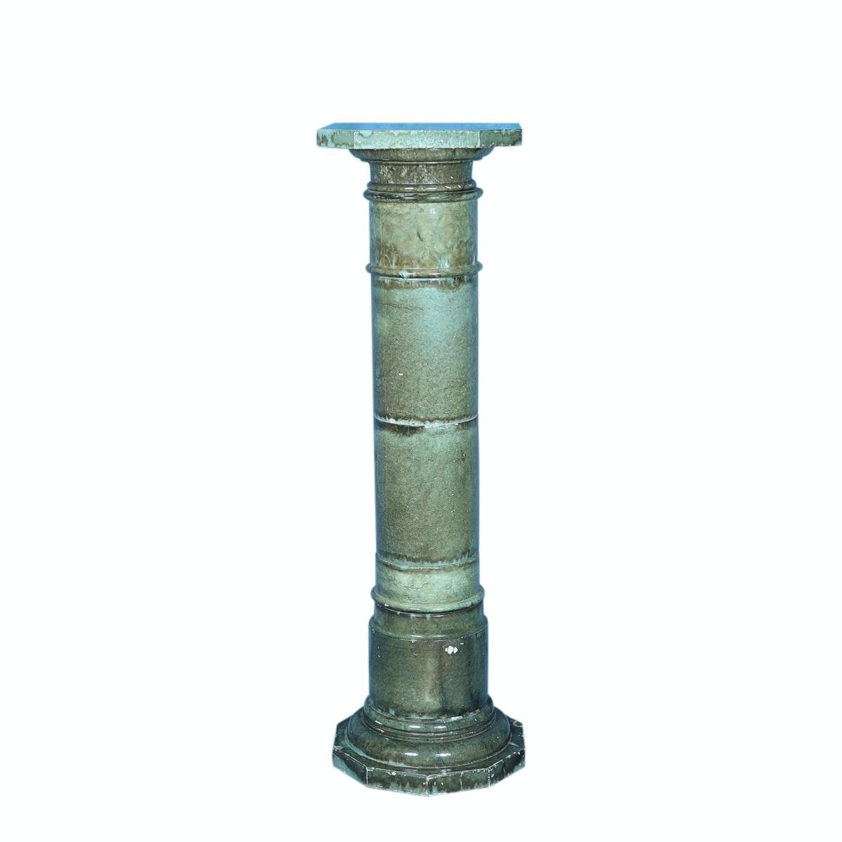 Vintage Dyed Green Marble Columnar Pedestal