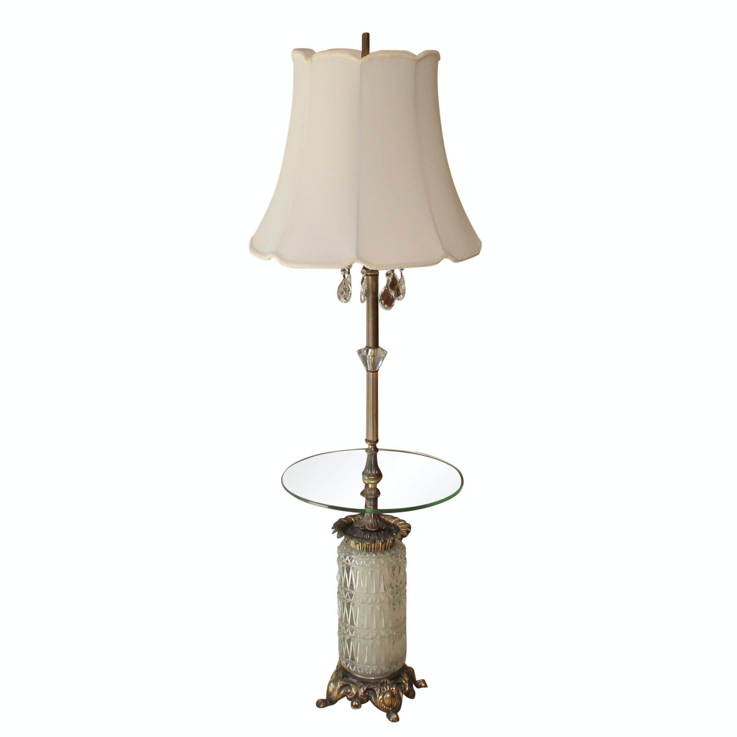 Brass and Crystal and Glass Floor Lamp