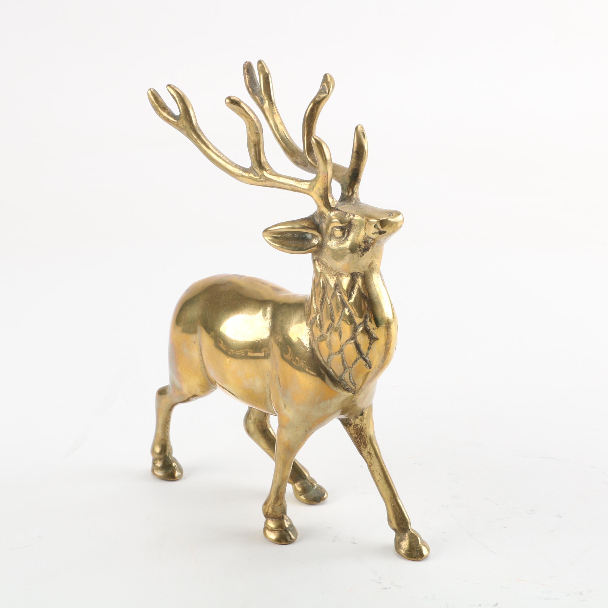 Brass Reindeer Figurine