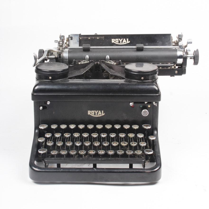 Industrial vintage manual typewriter royal typewriter w/ round.