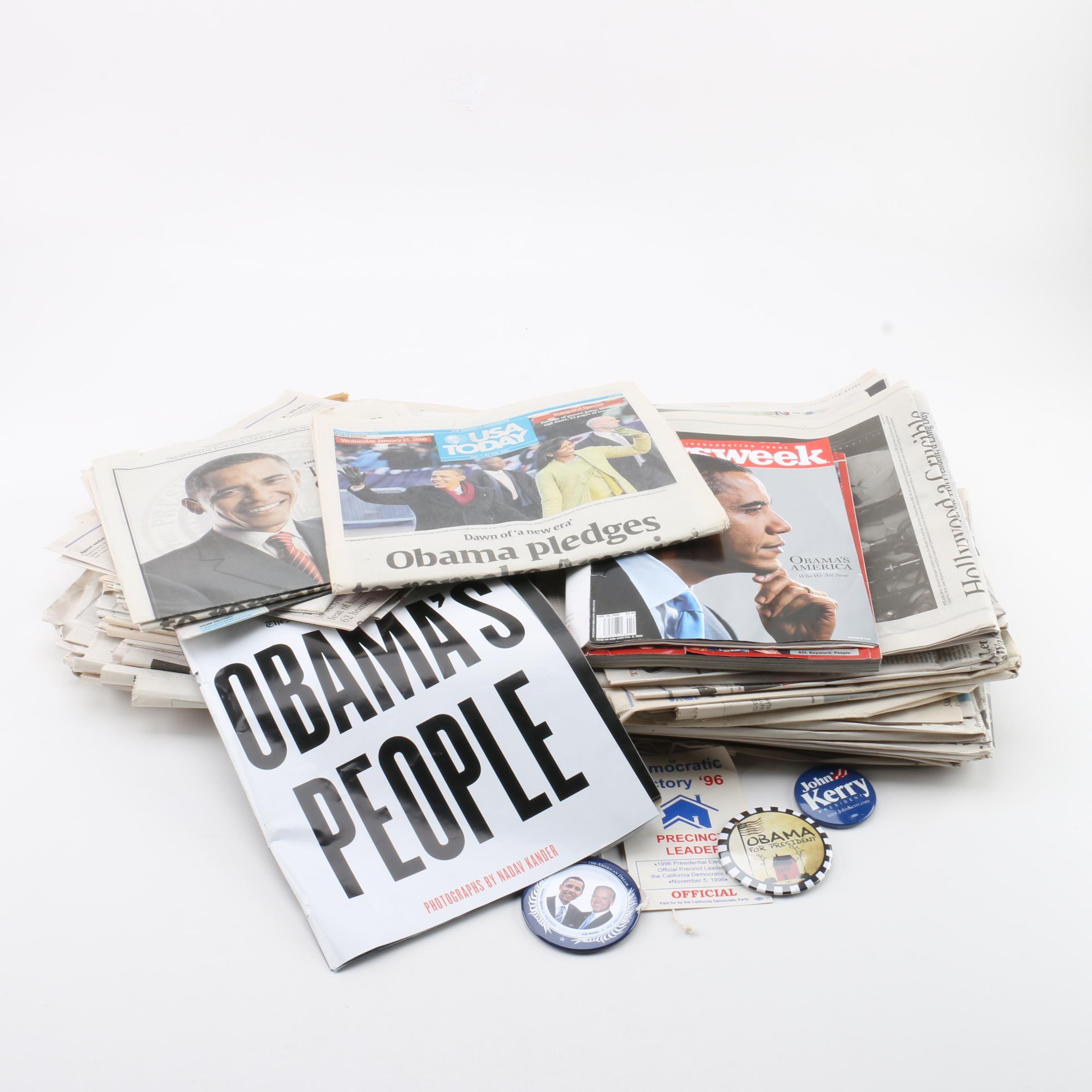 Political Ephemera and Pinbacks Featuring Barack Obama