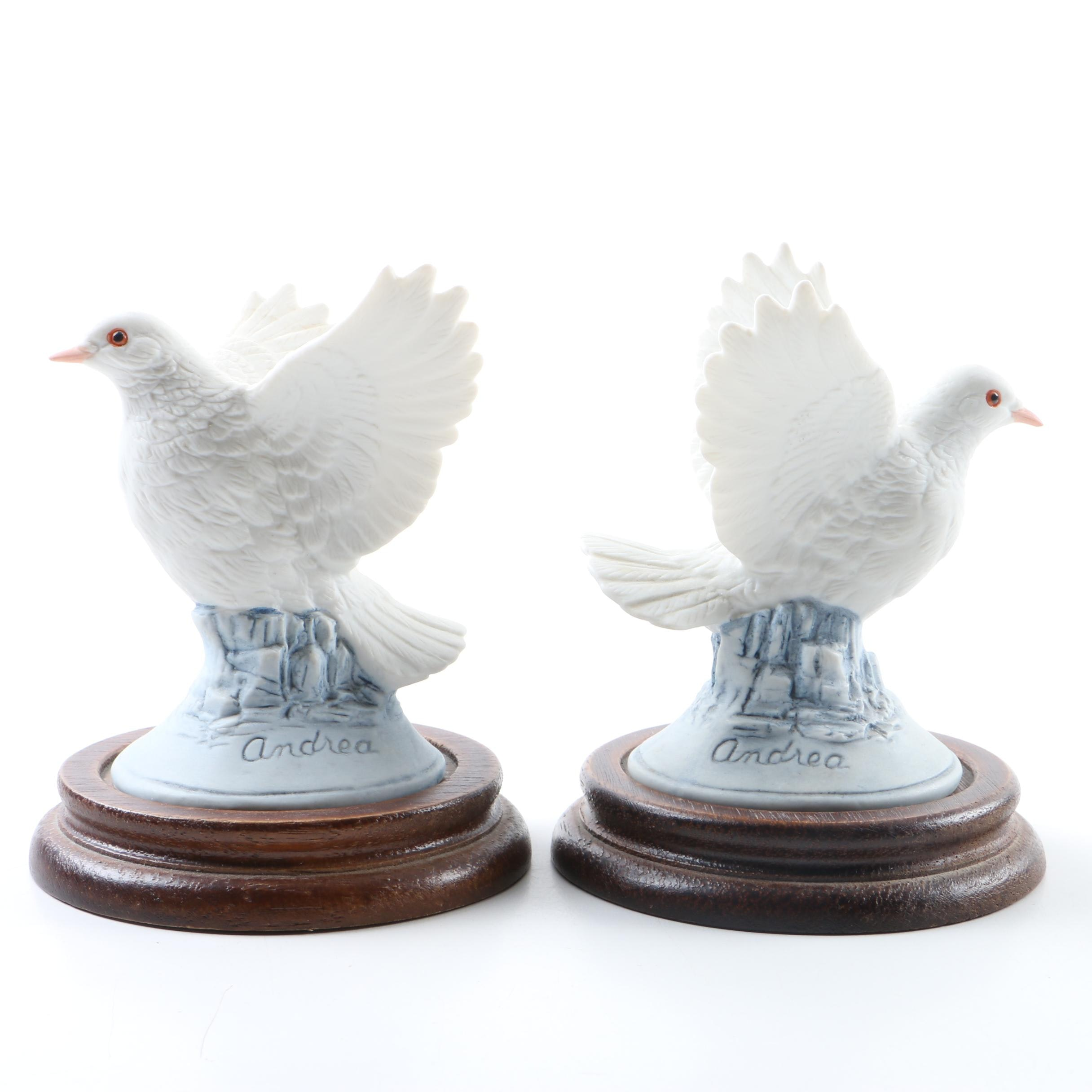 """""""White Dove"""" Porcelain Figurines on Wood Stands by Andrea by Sadek"""